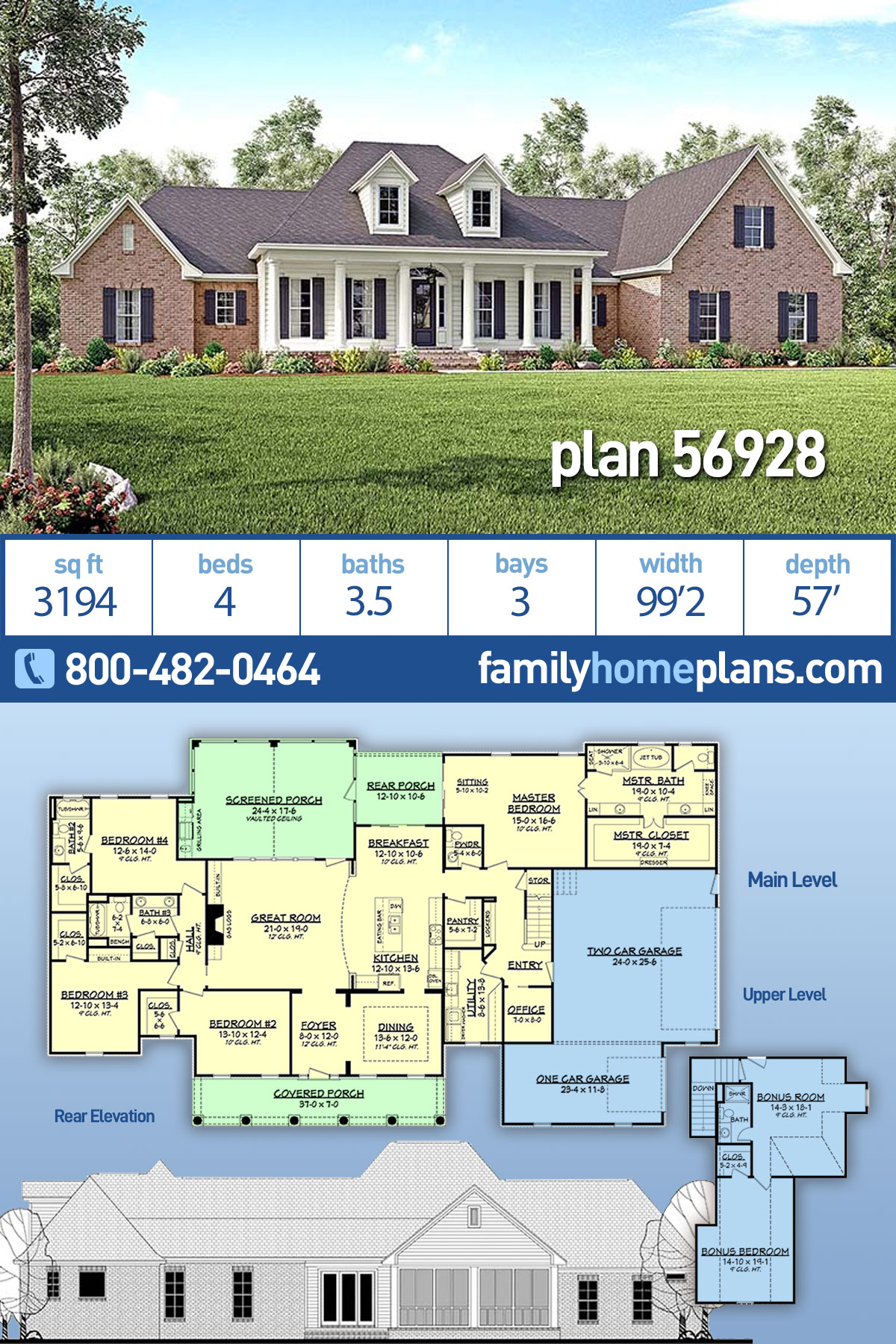 Colonial, Country, Southern, Traditional House Plan 56928 with 4 Beds, 4 Baths, 3 Car Garage