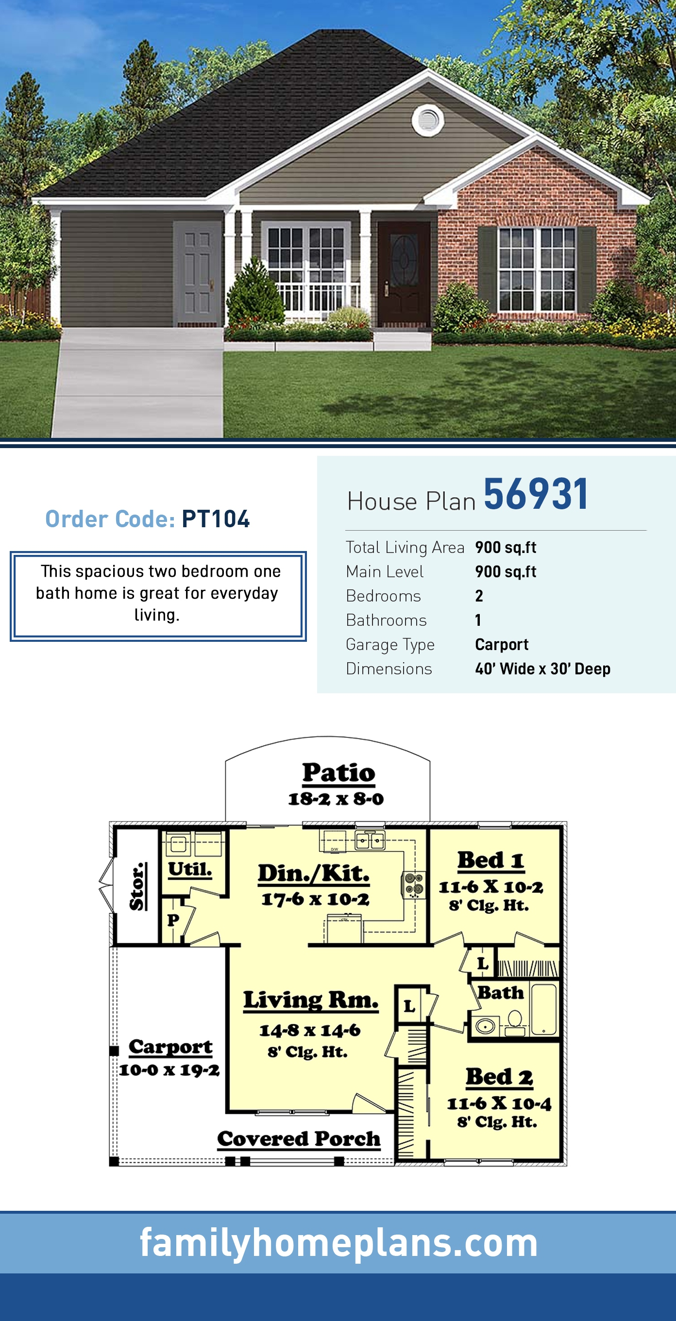 Country, Ranch, Traditional House Plan 56931 with 2 Beds, 1 Baths, 1 Car Garage