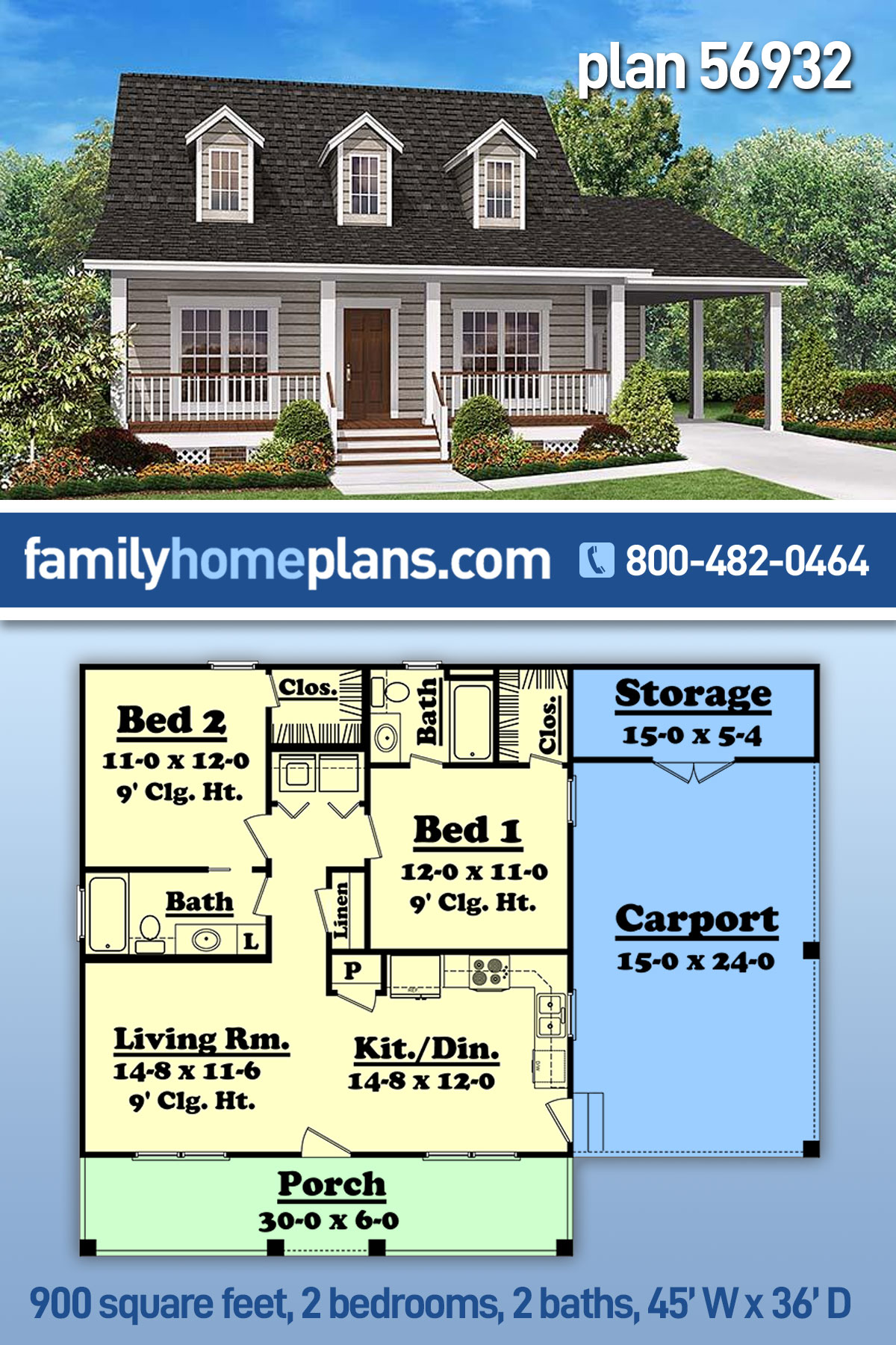 Cabin, Country, Southern House Plan 56932 with 2 Beds, 2 Baths, 1 Car Garage