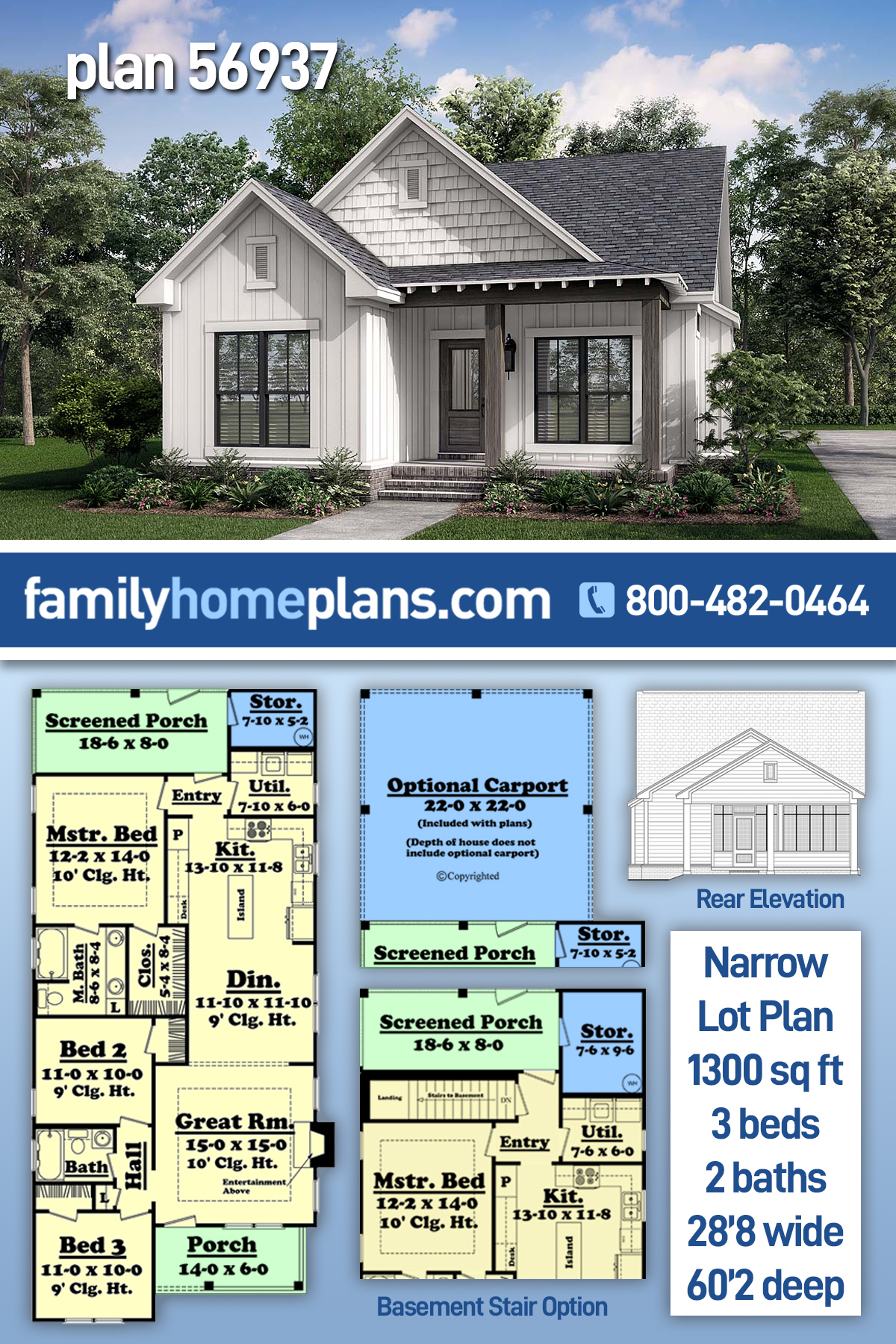 Cottage, Country, Southern, Traditional House Plan 56937 with 3 Beds, 2 Baths, 2 Car Garage