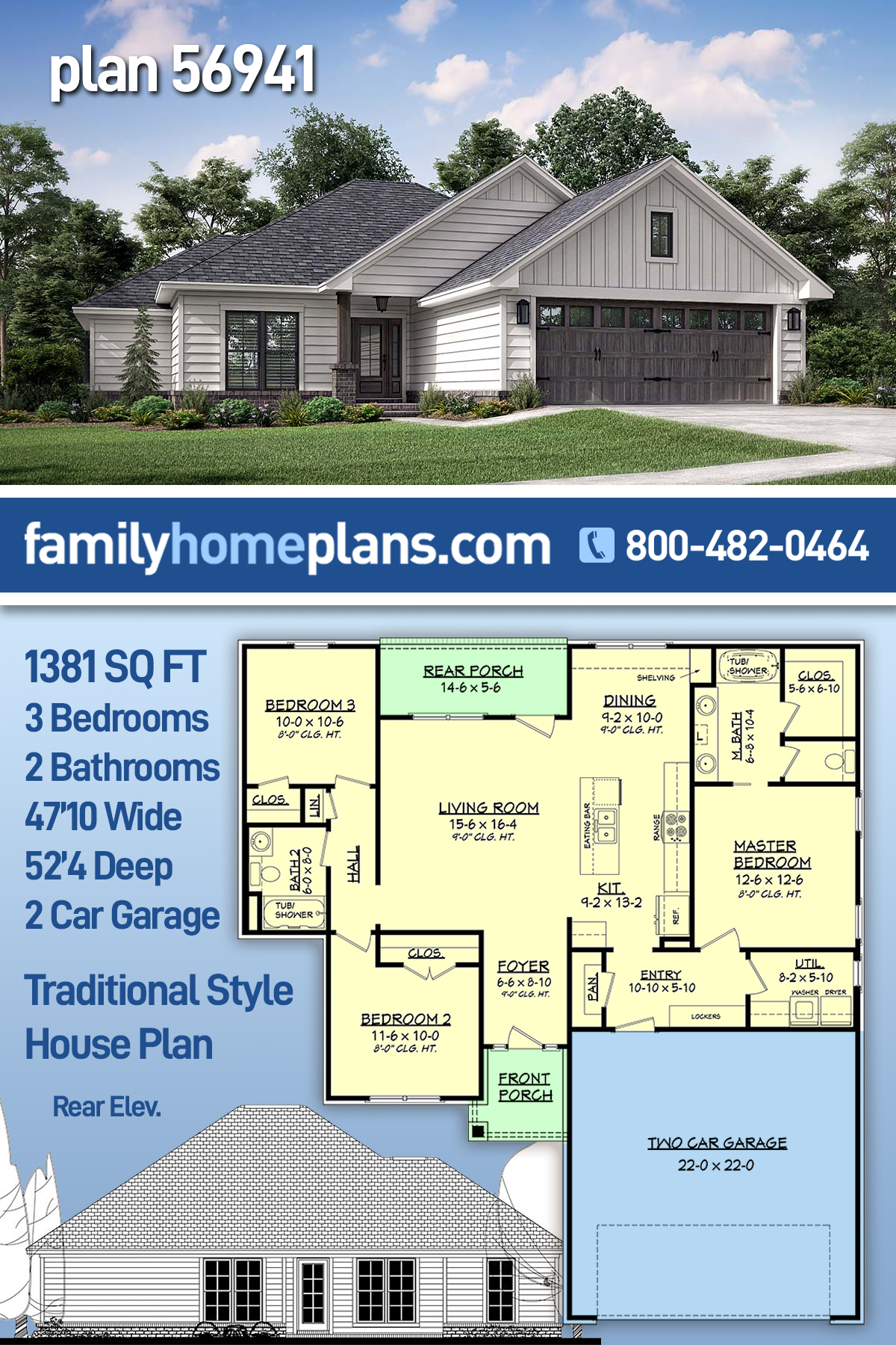 Ranch, Traditional House Plan 56941 with 3 Beds, 2 Baths, 2 Car Garage