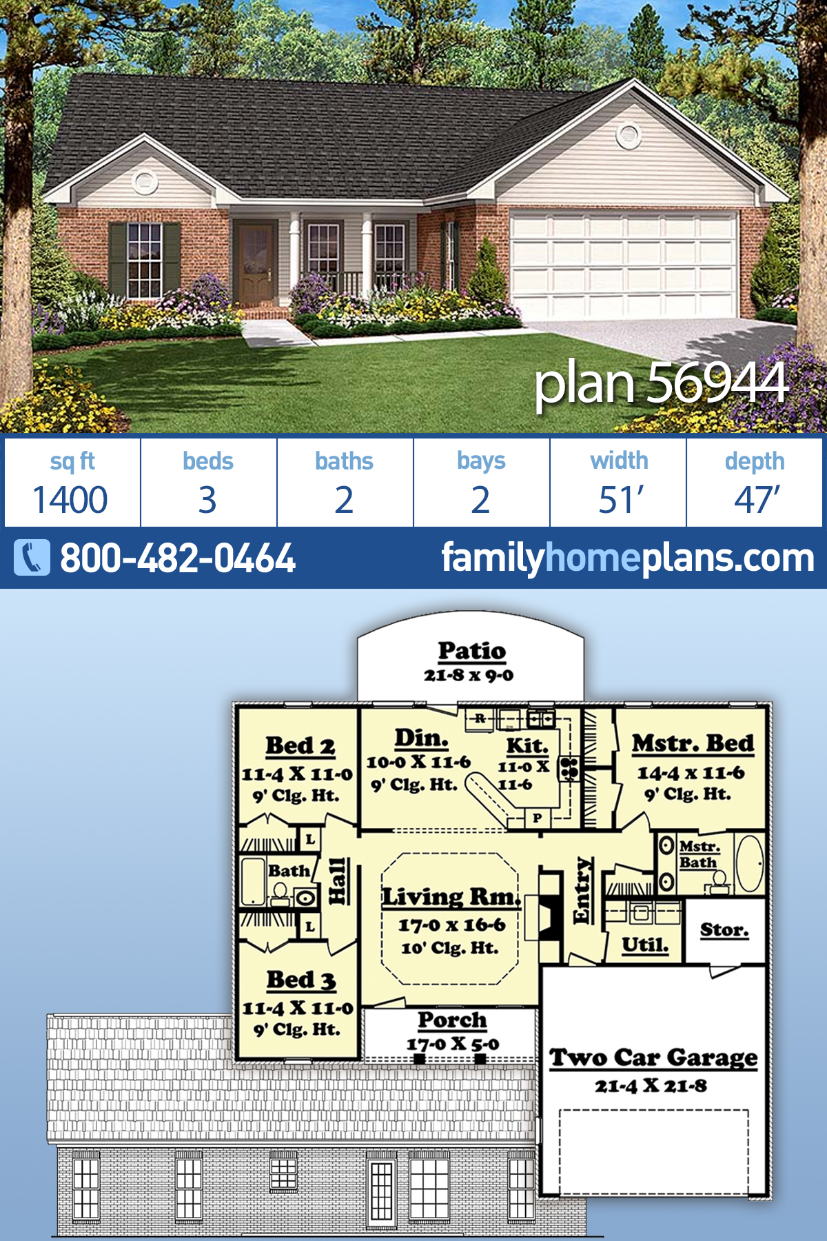Country, Ranch, Traditional House Plan 56944 with 3 Beds, 2 Baths, 2 Car Garage