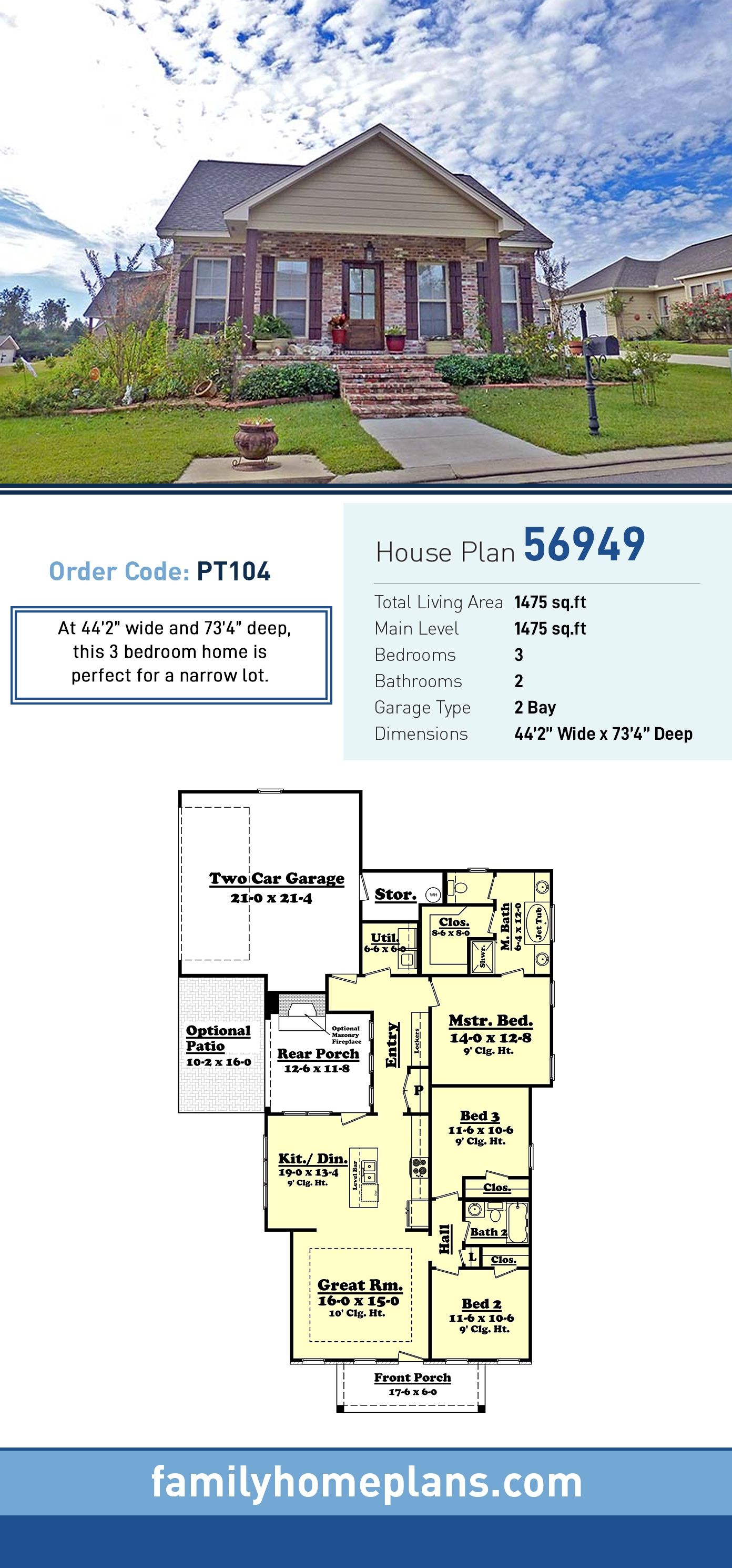 Cottage, Country, Ranch, Traditional House Plan 56949 with 3 Beds, 2 Baths, 2 Car Garage