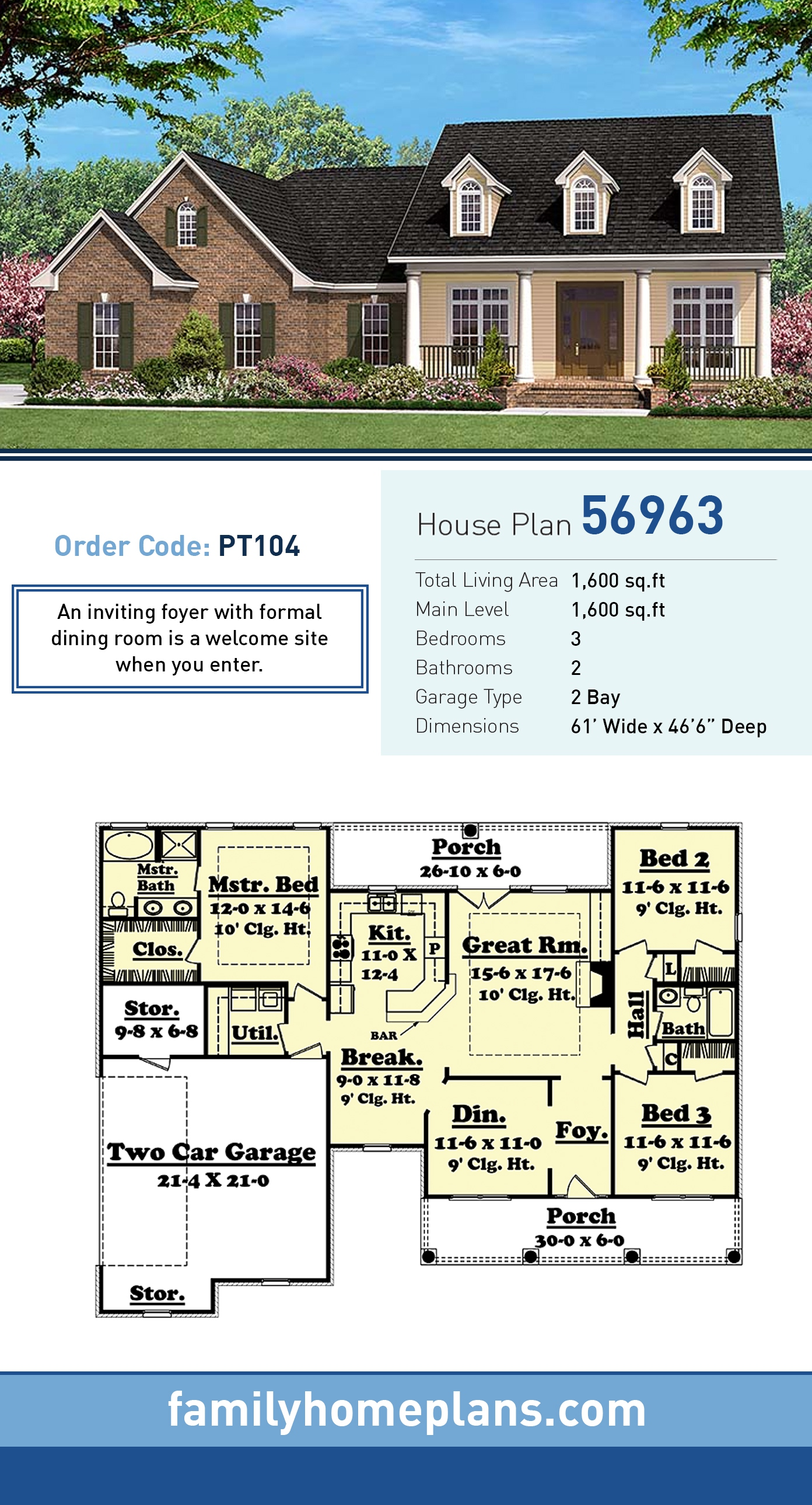 Country, Ranch, Southern, Traditional House Plan 56963 with 3 Beds , 2 Baths , 2 Car Garage