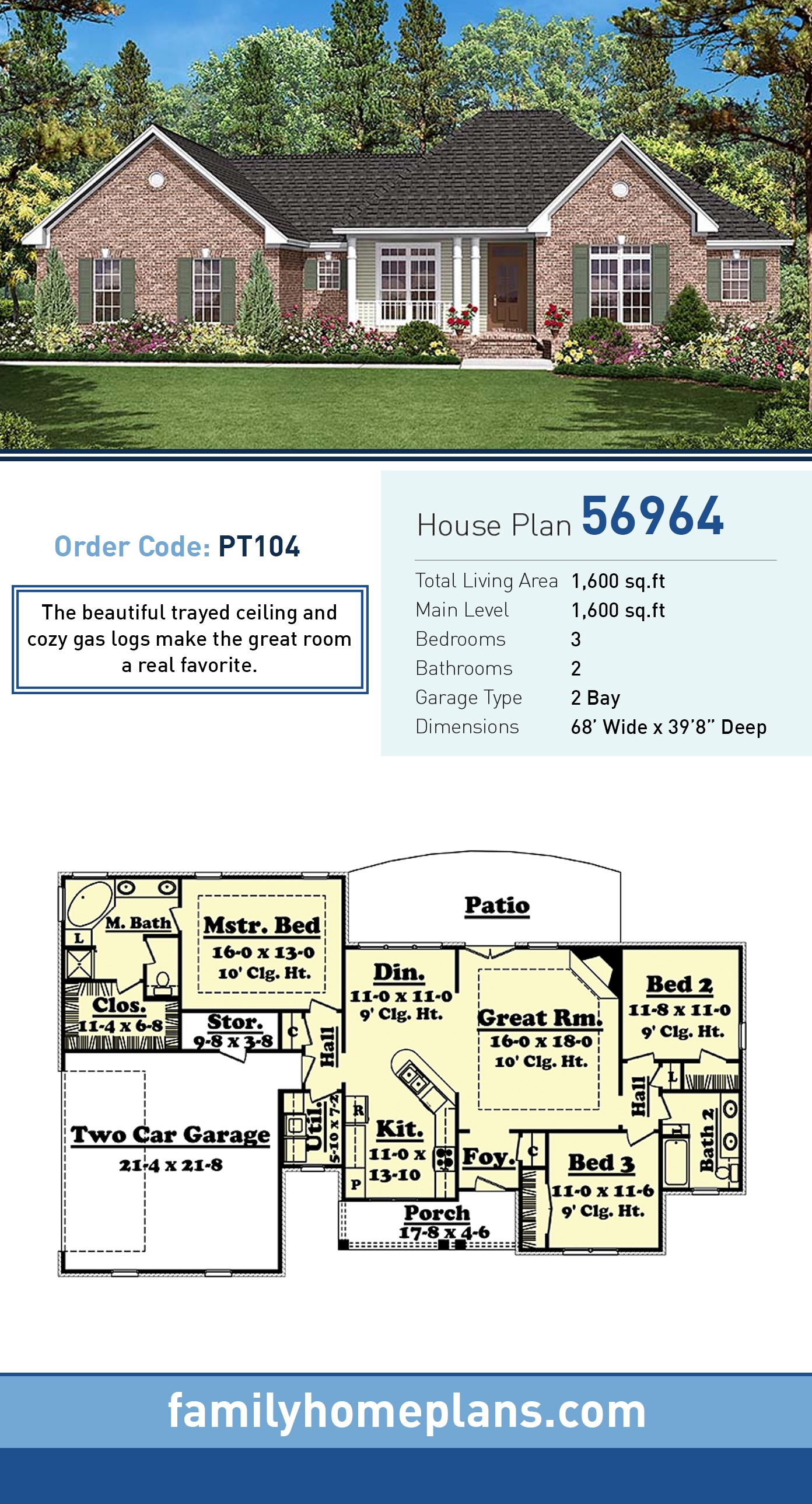 Country, Ranch, Traditional House Plan 56964 with 3 Beds, 2 Baths, 2 Car Garage