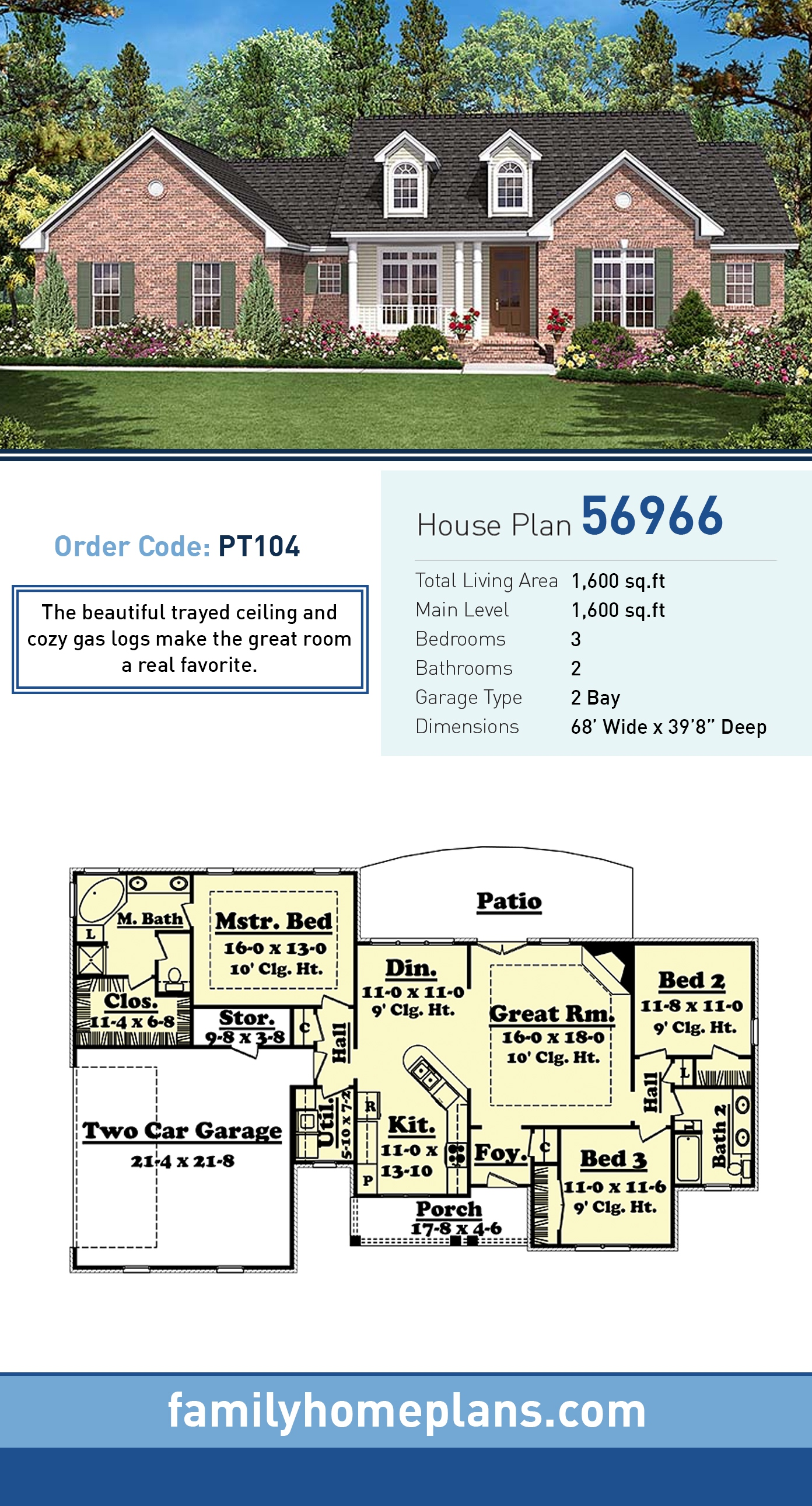 Country, Ranch, Traditional House Plan 56966 with 3 Beds, 2 Baths, 2 Car Garage
