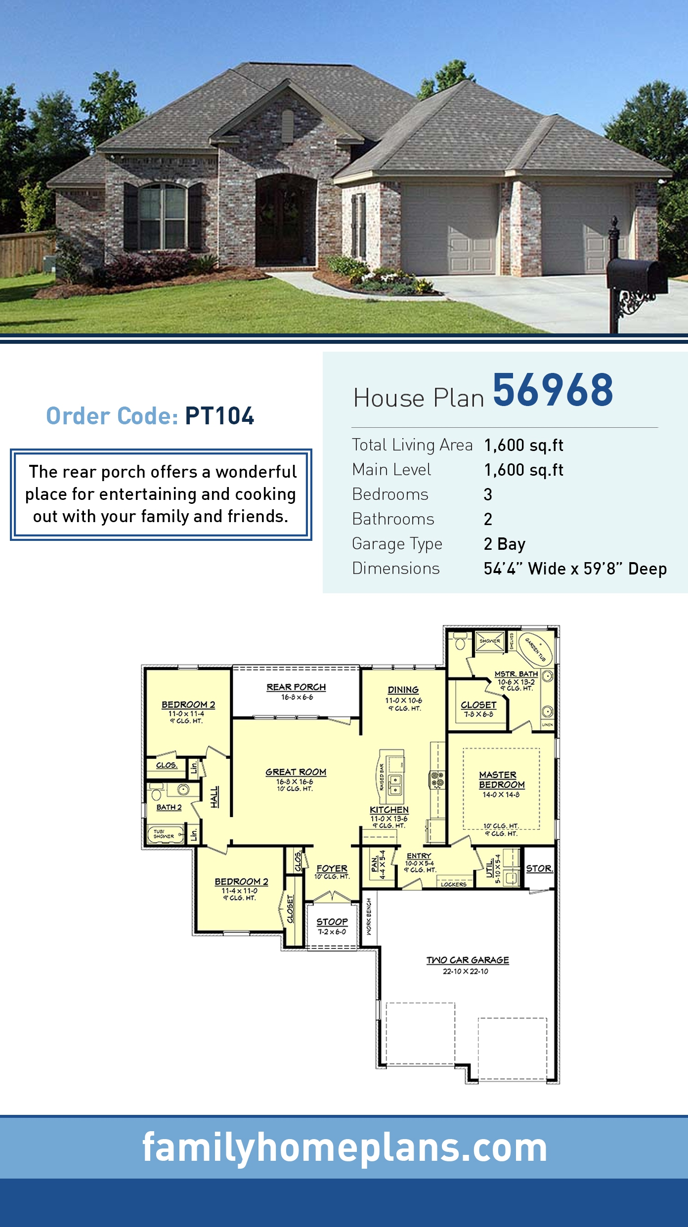 Country, European, French Country House Plan 56968 with 3 Beds, 2 Baths, 2 Car Garage
