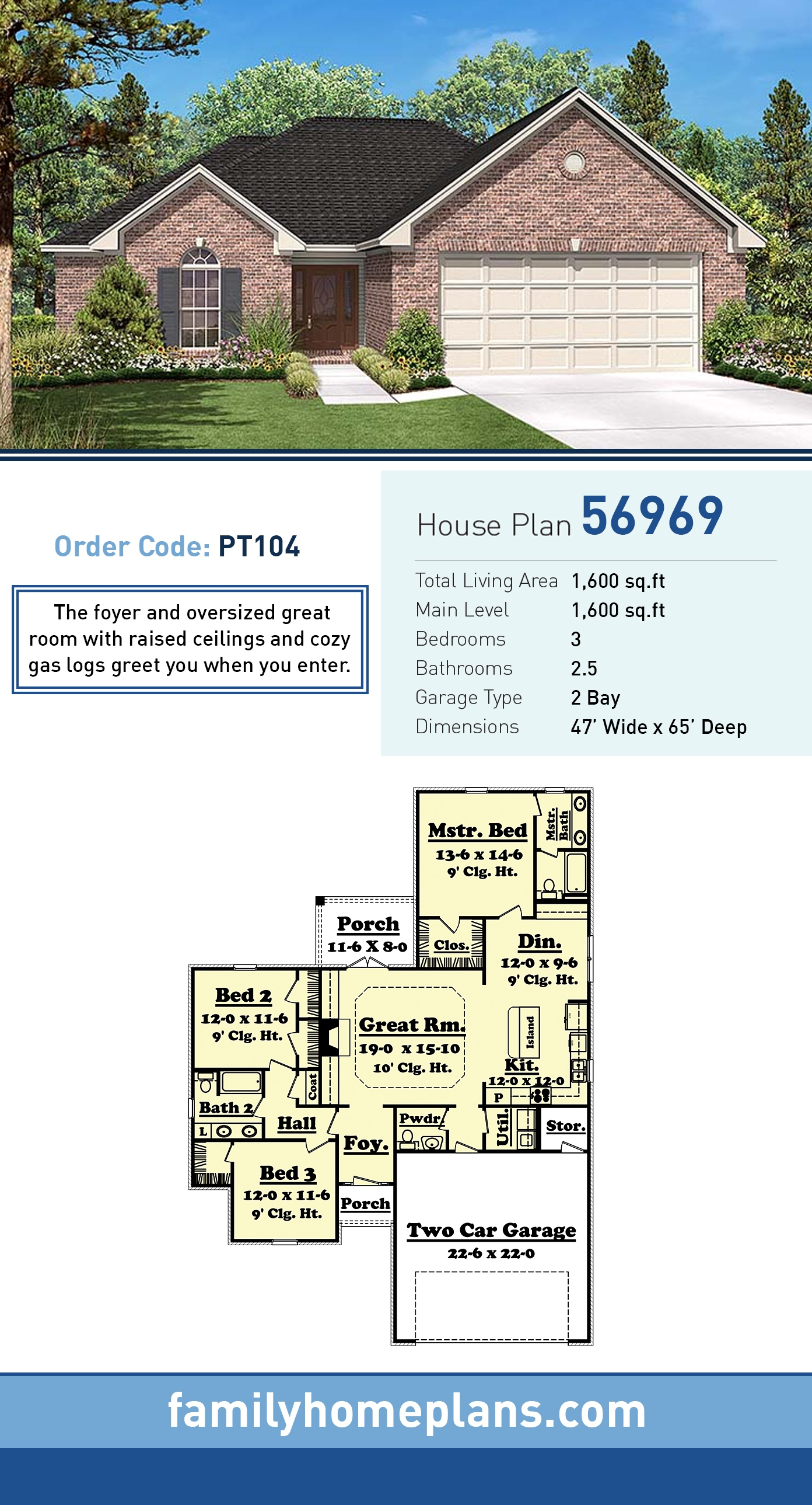 Country, Ranch, Traditional House Plan 56969 with 3 Beds, 3 Baths, 2 Car Garage