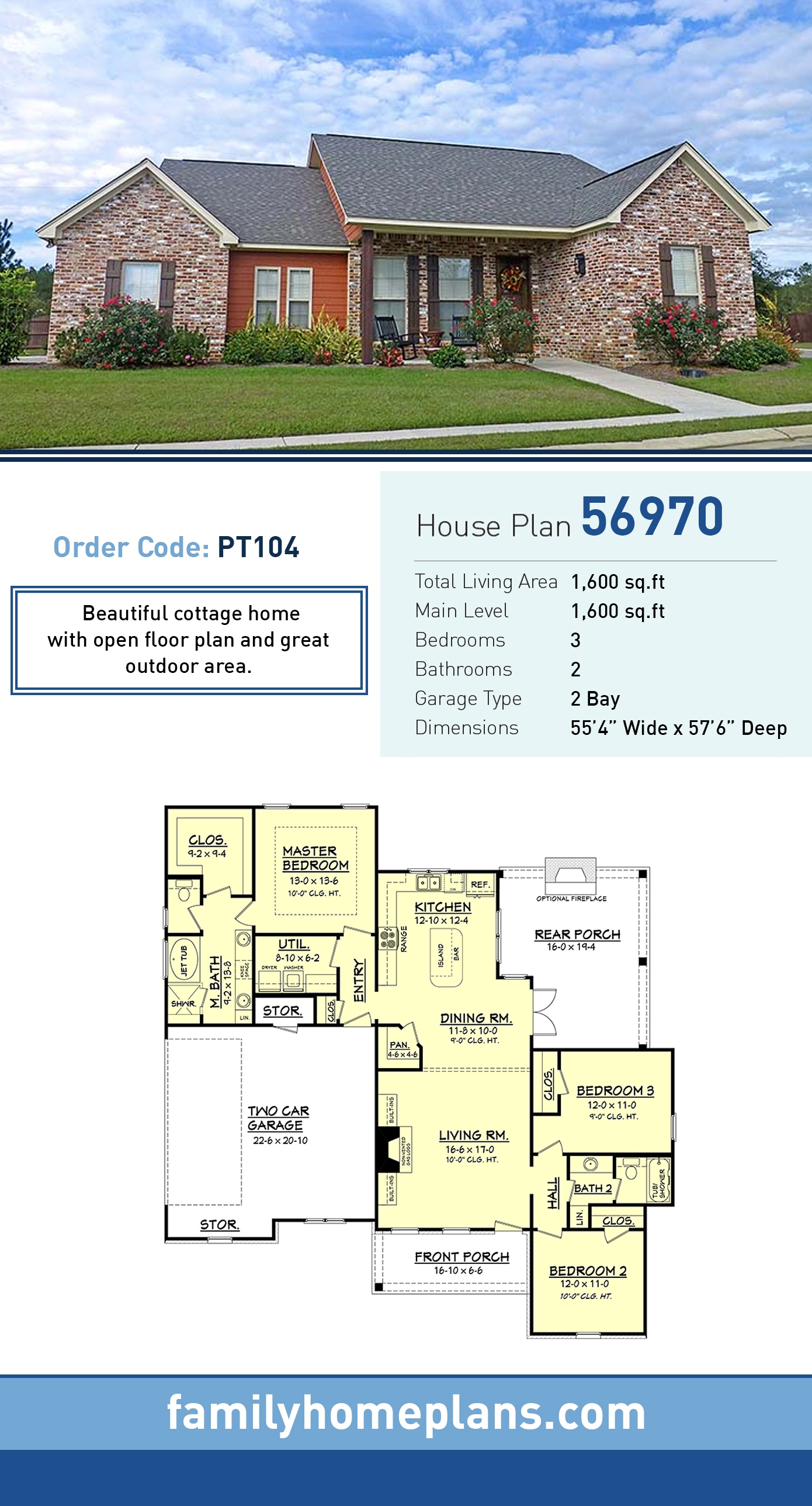 Cottage, Country, Craftsman House Plan 56970 with 3 Beds, 2 Baths, 2 Car Garage