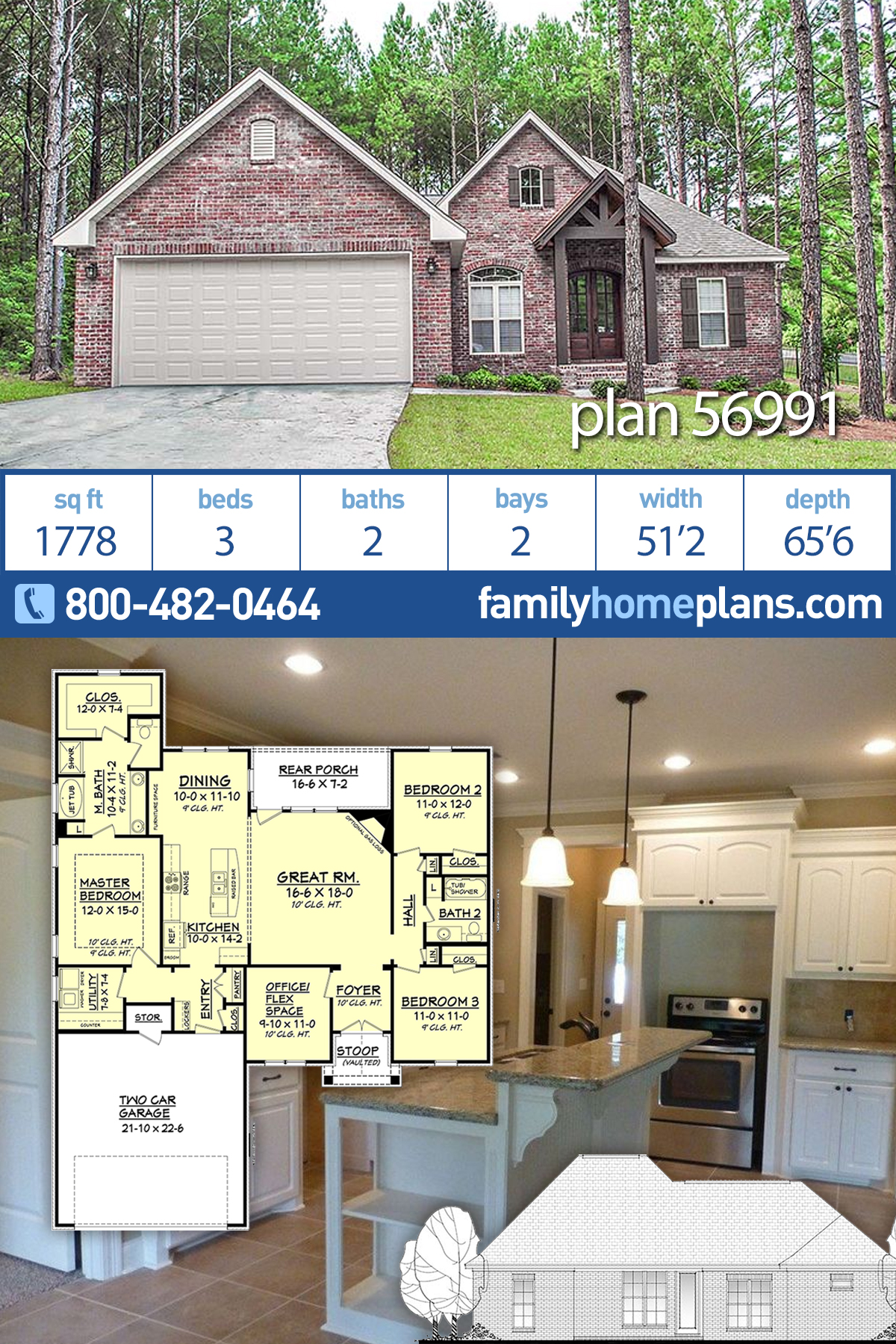 Country, French Country, Traditional House Plan 56991 with 3 Beds , 2 Baths , 2 Car Garage