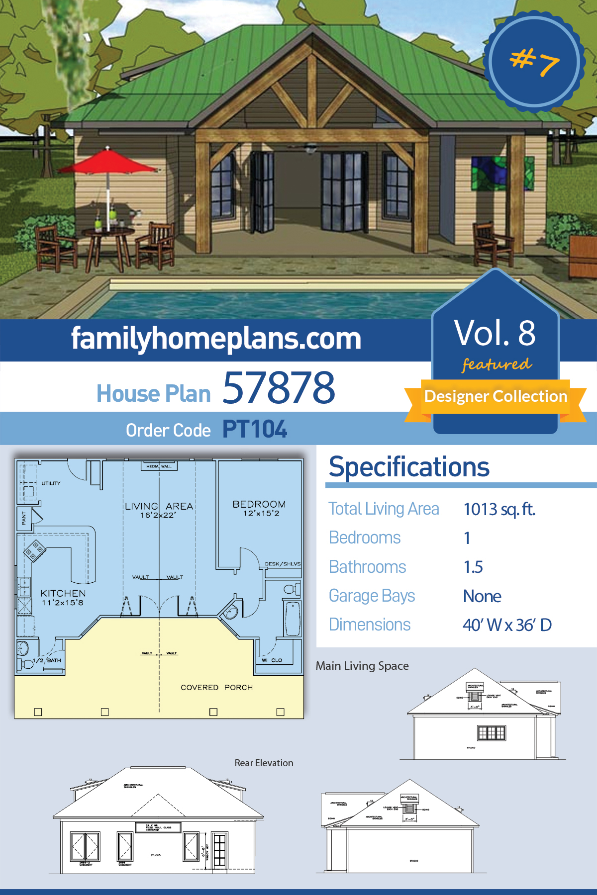 Cottage, Craftsman House Plan 57878 with 1 Beds, 2 Baths
