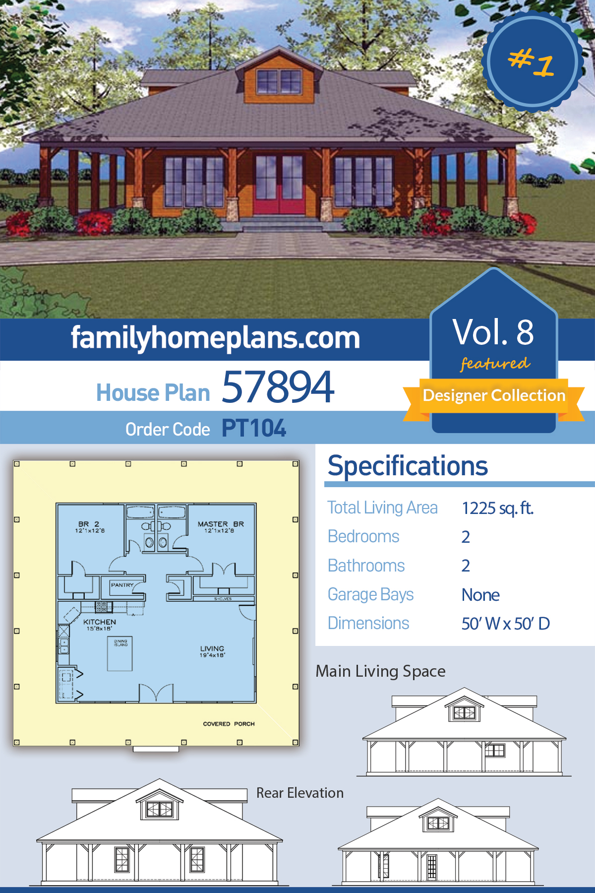 Cottage, Florida, Southern House Plan 57894 with 2 Beds , 2 Baths