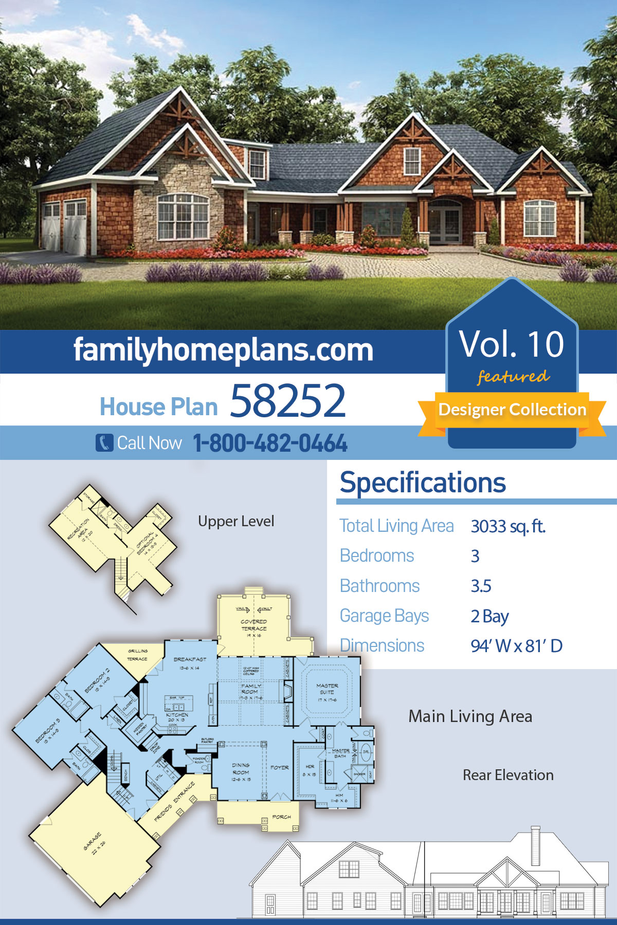Craftsman , Traditional House Plan 58252 with 3 Beds, 4 Baths, 2 Car Garage