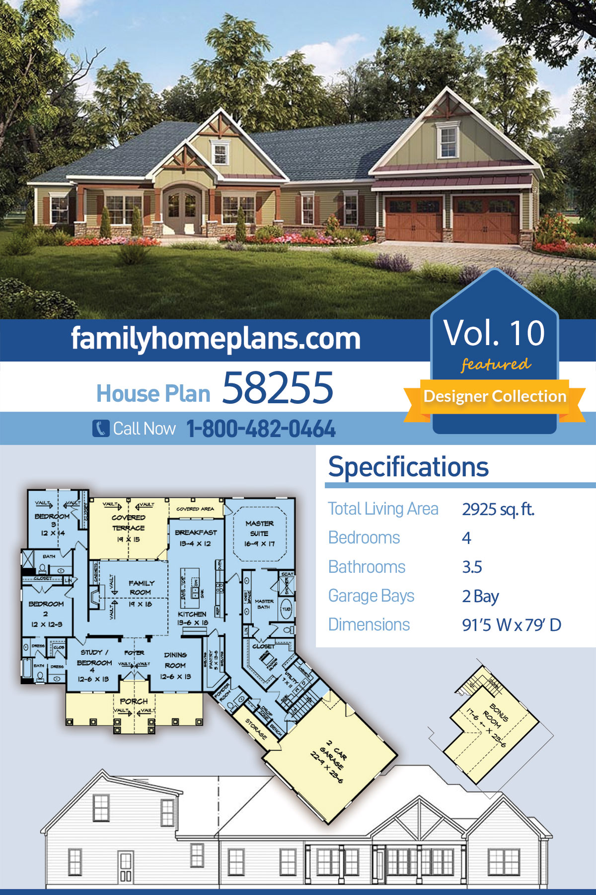 Craftsman House Plan 58255 with 4 Beds , 4 Baths , 2 Car Garage
