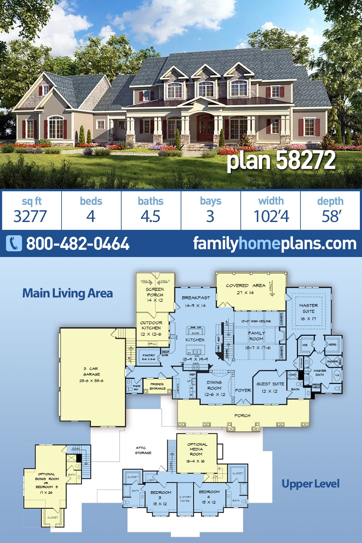 Country, Craftsman, Farmhouse, Southern, Traditional House Plan 58272 with 4 Beds, 5 Baths, 3 Car Garage