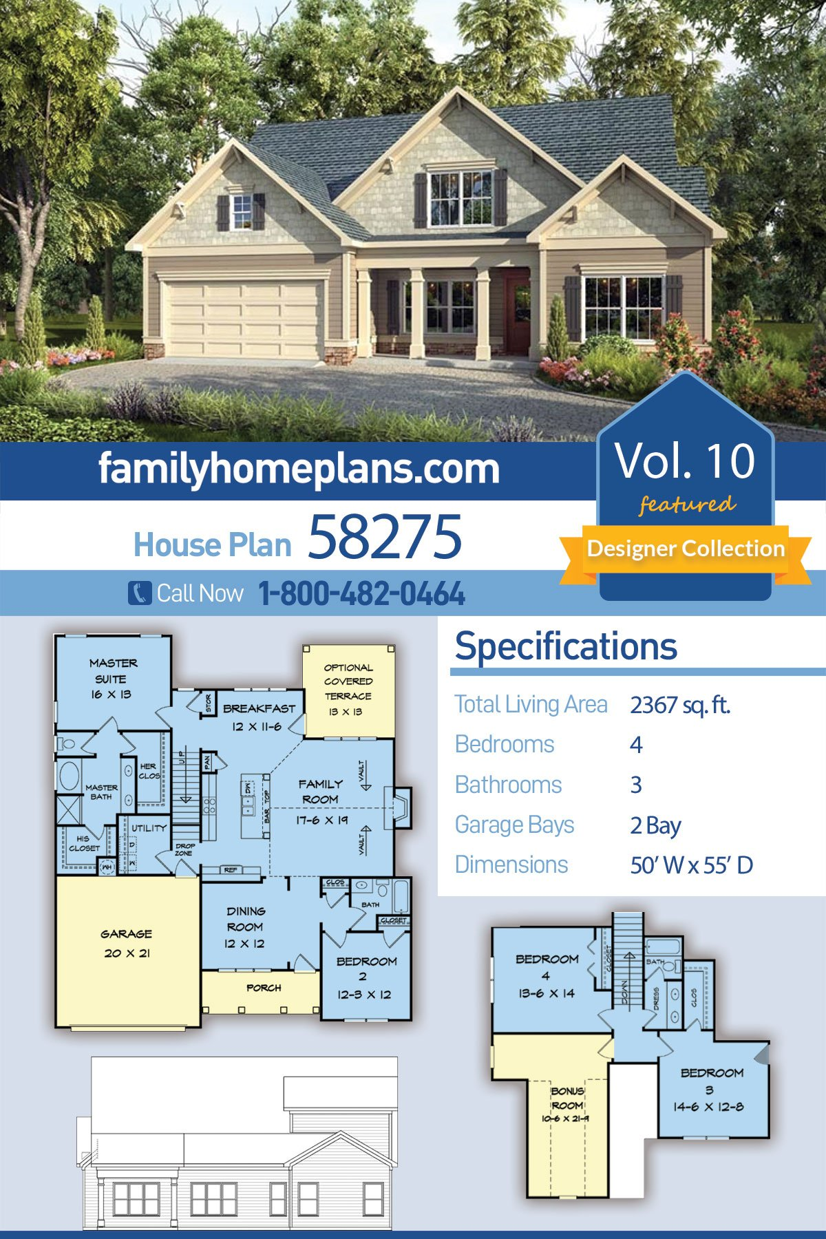 Craftsman, Traditional House Plan 58275 with 4 Beds, 3 Baths, 2 Car Garage