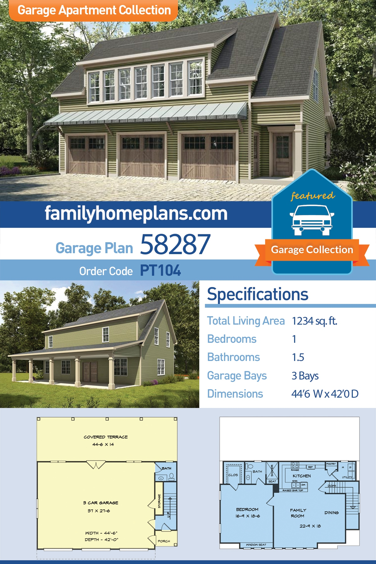 Country, Craftsman, Traditional 3 Car Garage Apartment Plan 58287 with 1 Beds, 2 Baths