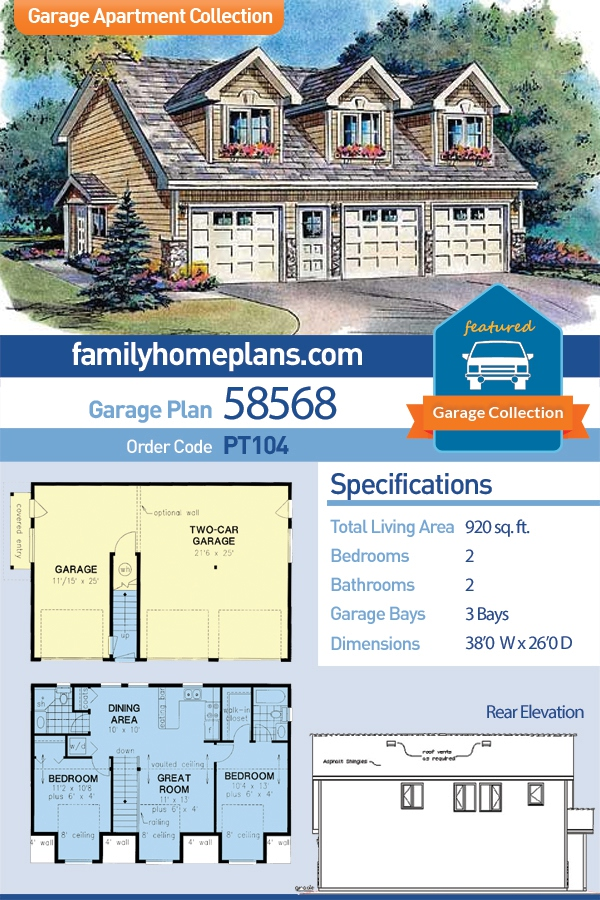 Cape Cod, Country, Traditional 3 Car Garage Apartment Plan 58568 with 2 Beds, 2 Baths