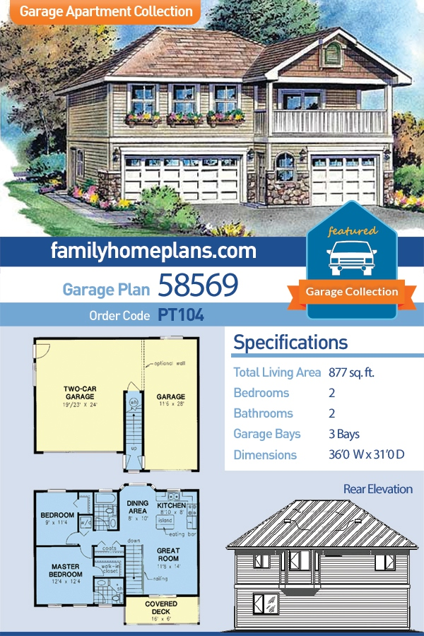 European, Ranch, Traditional 3 Car Garage Apartment Plan 58569 with 2 Beds , 2 Baths