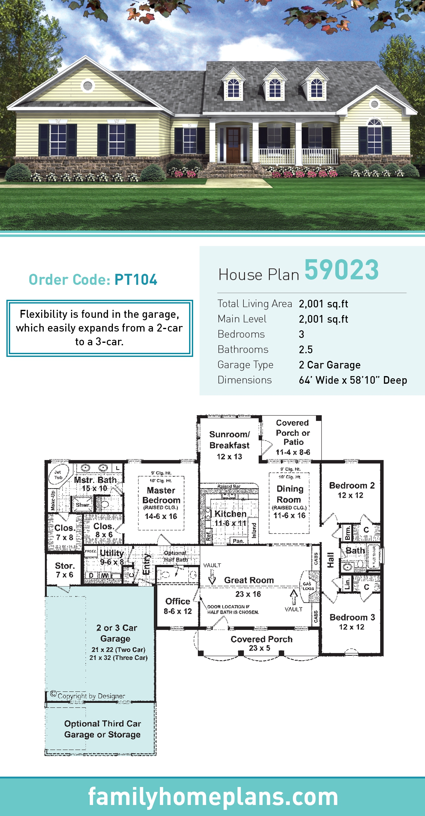 Country , Traditional House Plan 59023 with 3 Beds, 2 Baths, 2 Car Garage