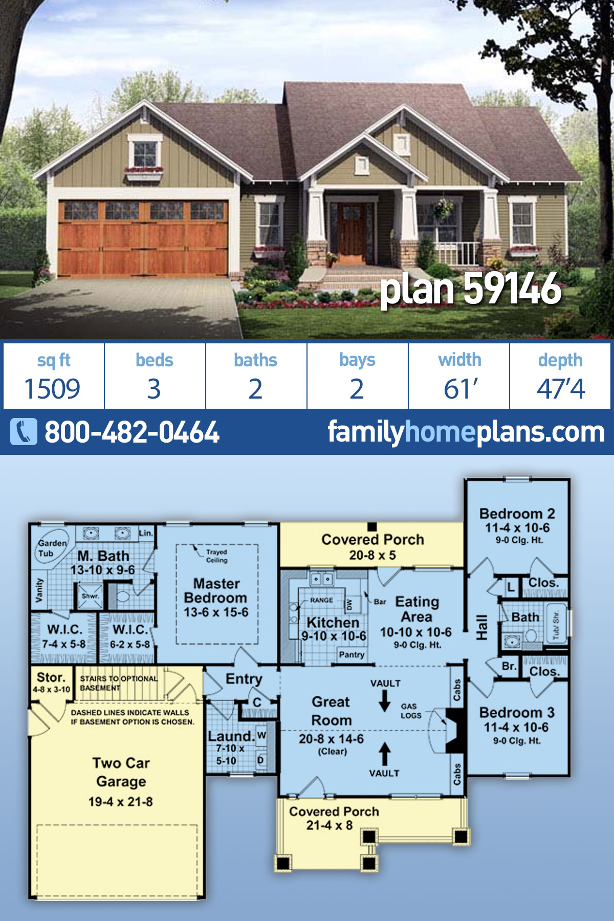 Bungalow, Craftsman House Plan 59146 with 3 Beds , 2 Baths , 2 Car Garage