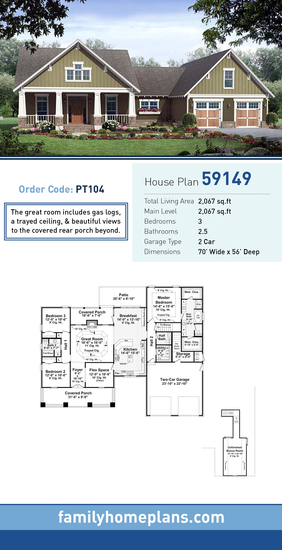 Bungalow, Craftsman House Plan 59149 with 3 Beds , 3 Baths , 2 Car Garage