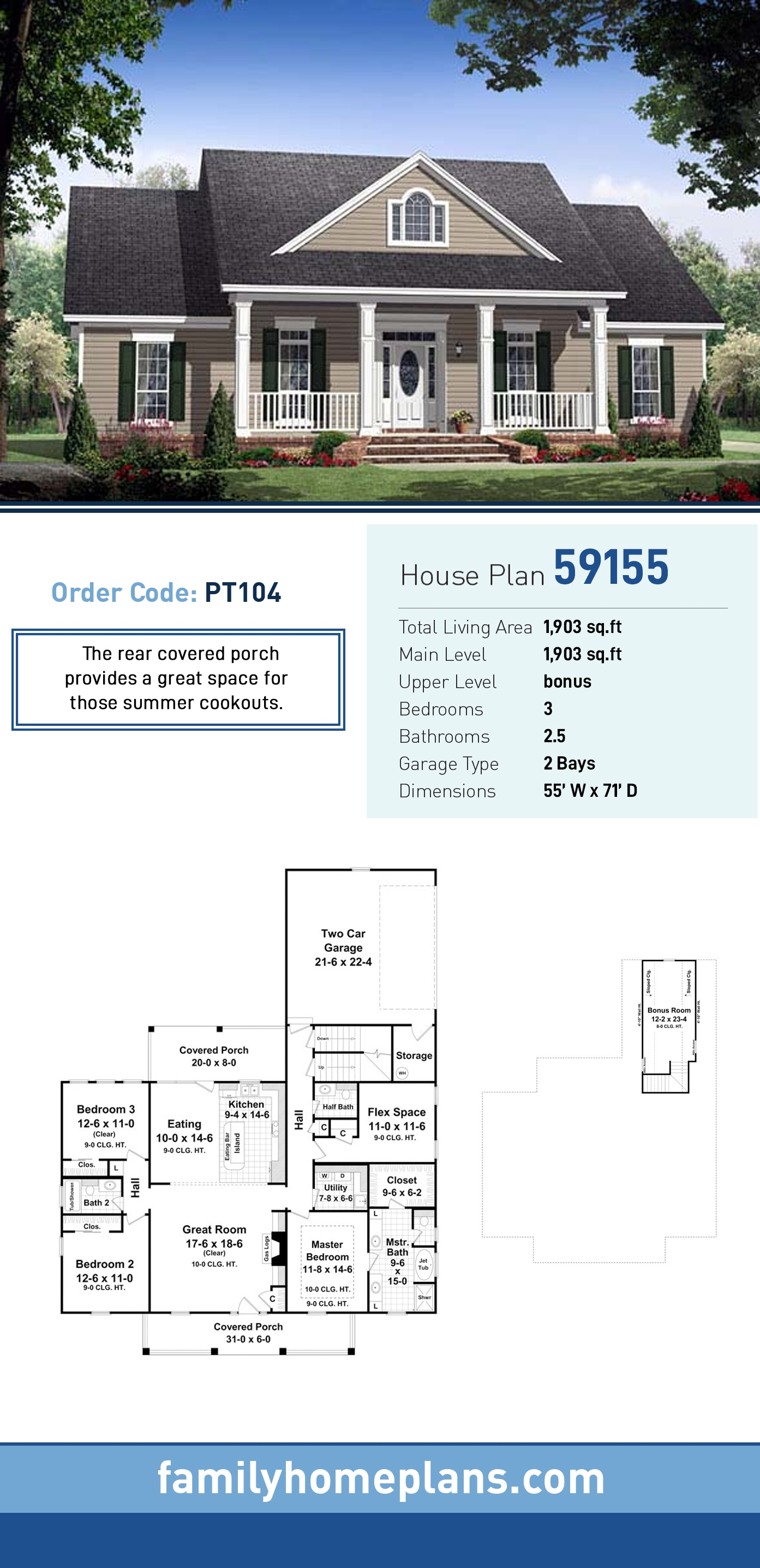 Country, Farmhouse, Traditional House Plan 59155 with 3 Beds, 3 Baths, 2 Car Garage