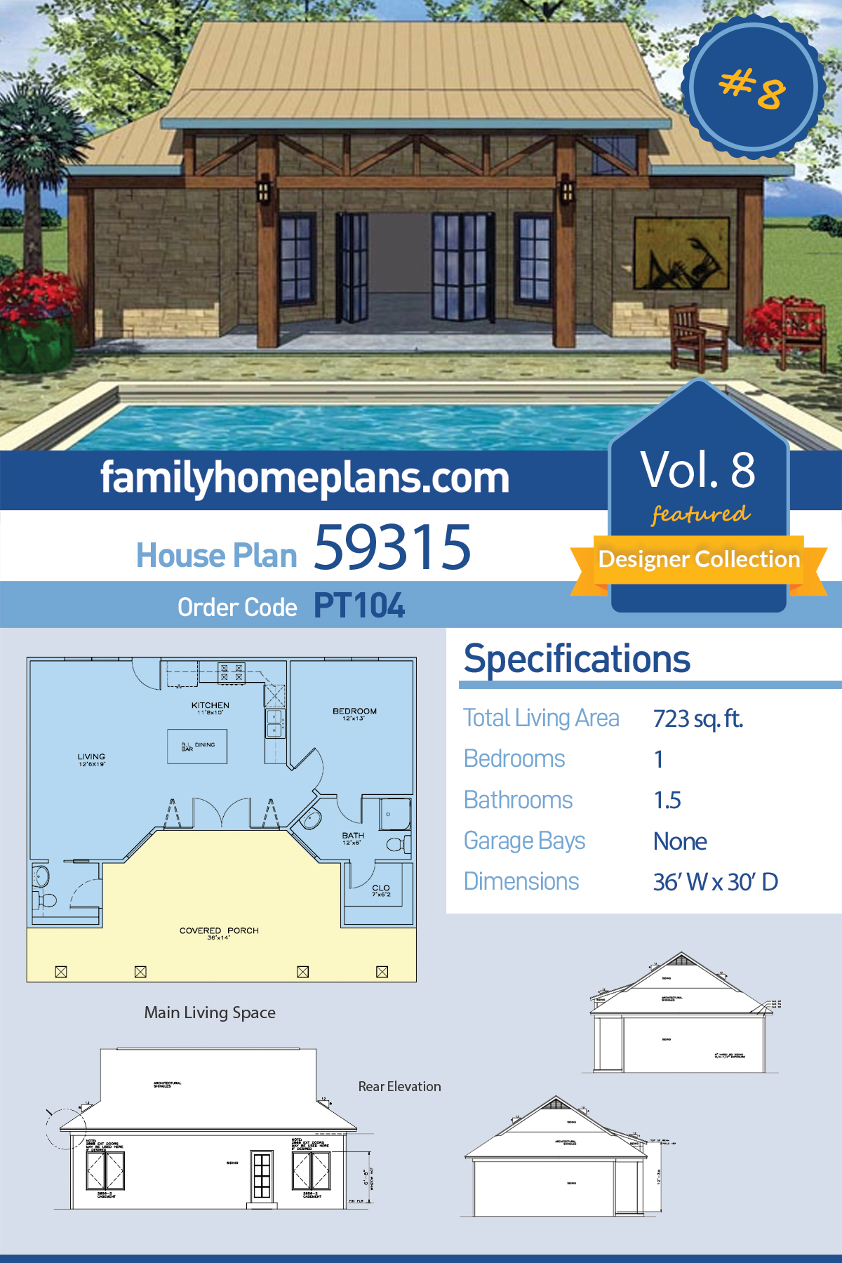 Cottage , Craftsman House Plan 59315 with 1 Beds, 2 Baths
