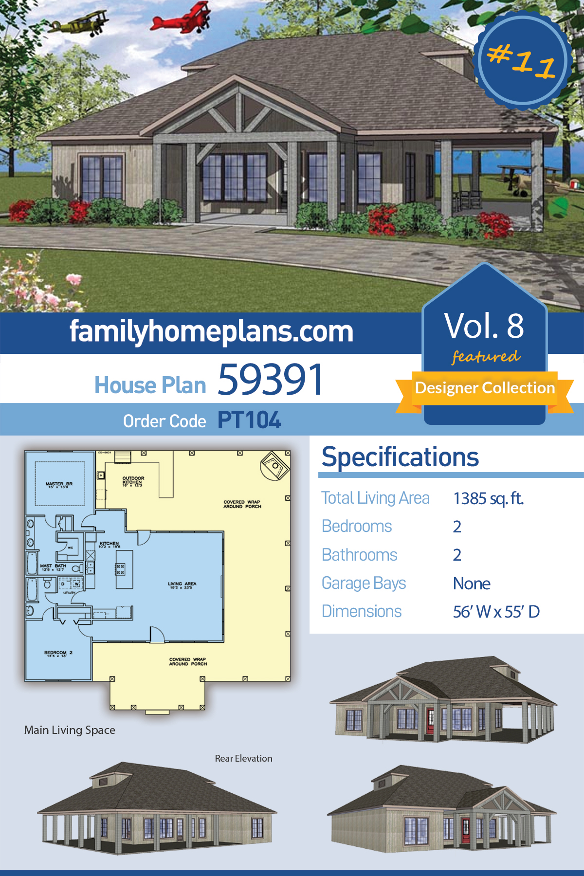Cottage, Southern House Plan 59391 with 2 Beds, 2 Baths