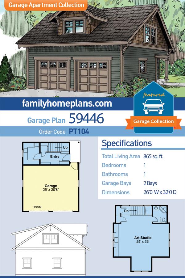 Country, Craftsman, Traditional 2 Car Garage Apartment Plan 59446