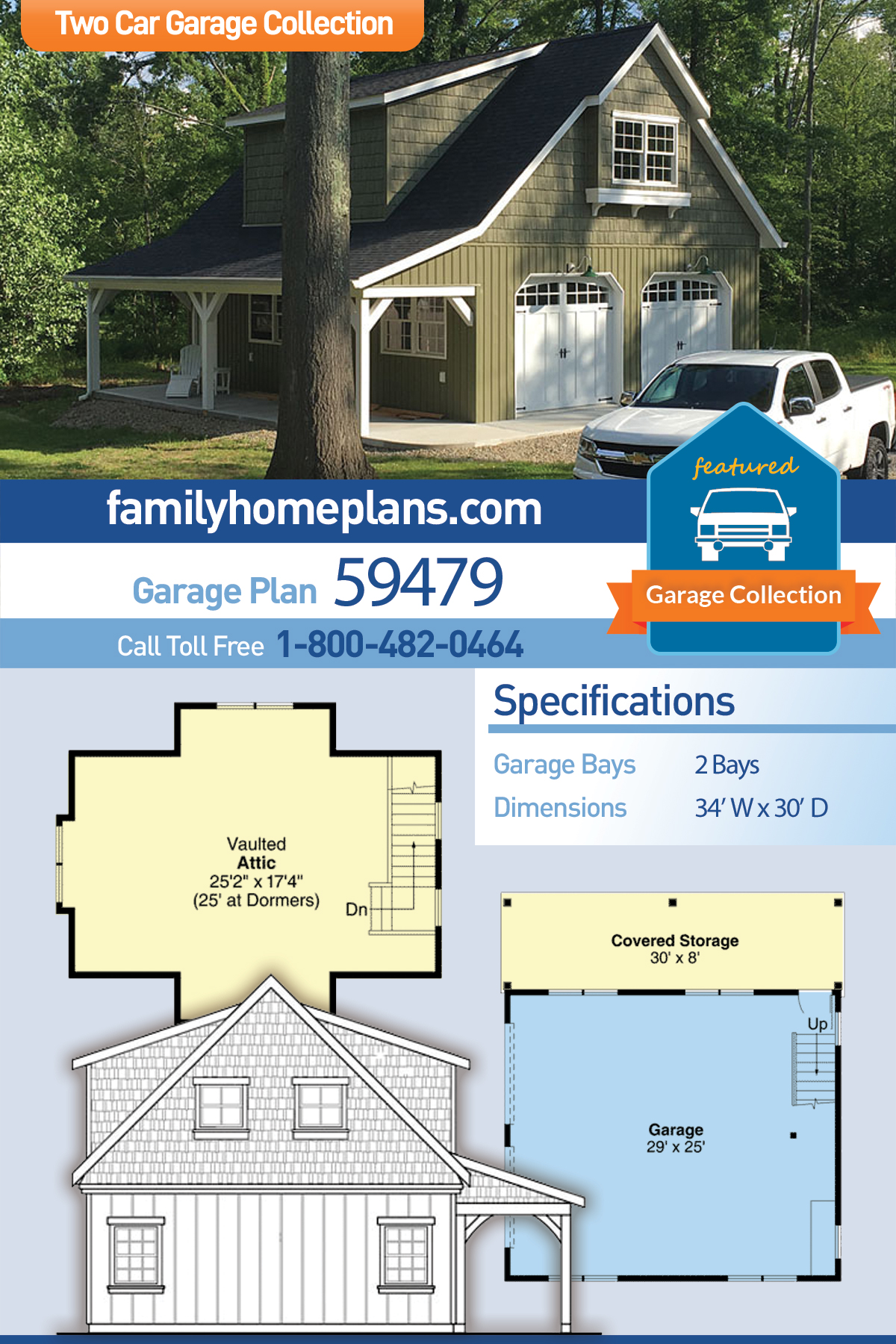 Country, Craftsman, Farmhouse 2 Car Garage Plan 59479