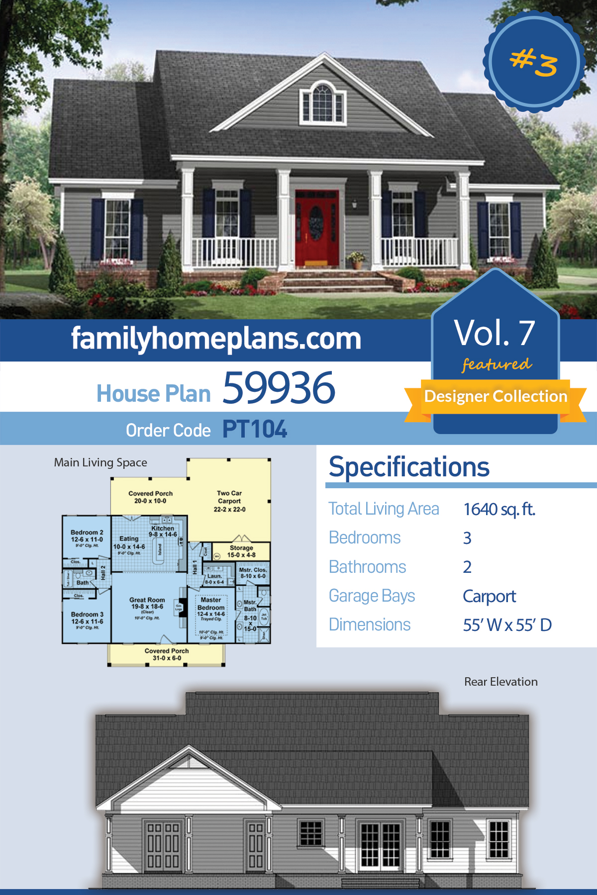 Country , Traditional House Plan 59936 with 3 Beds, 2 Baths, 2 Car Garage