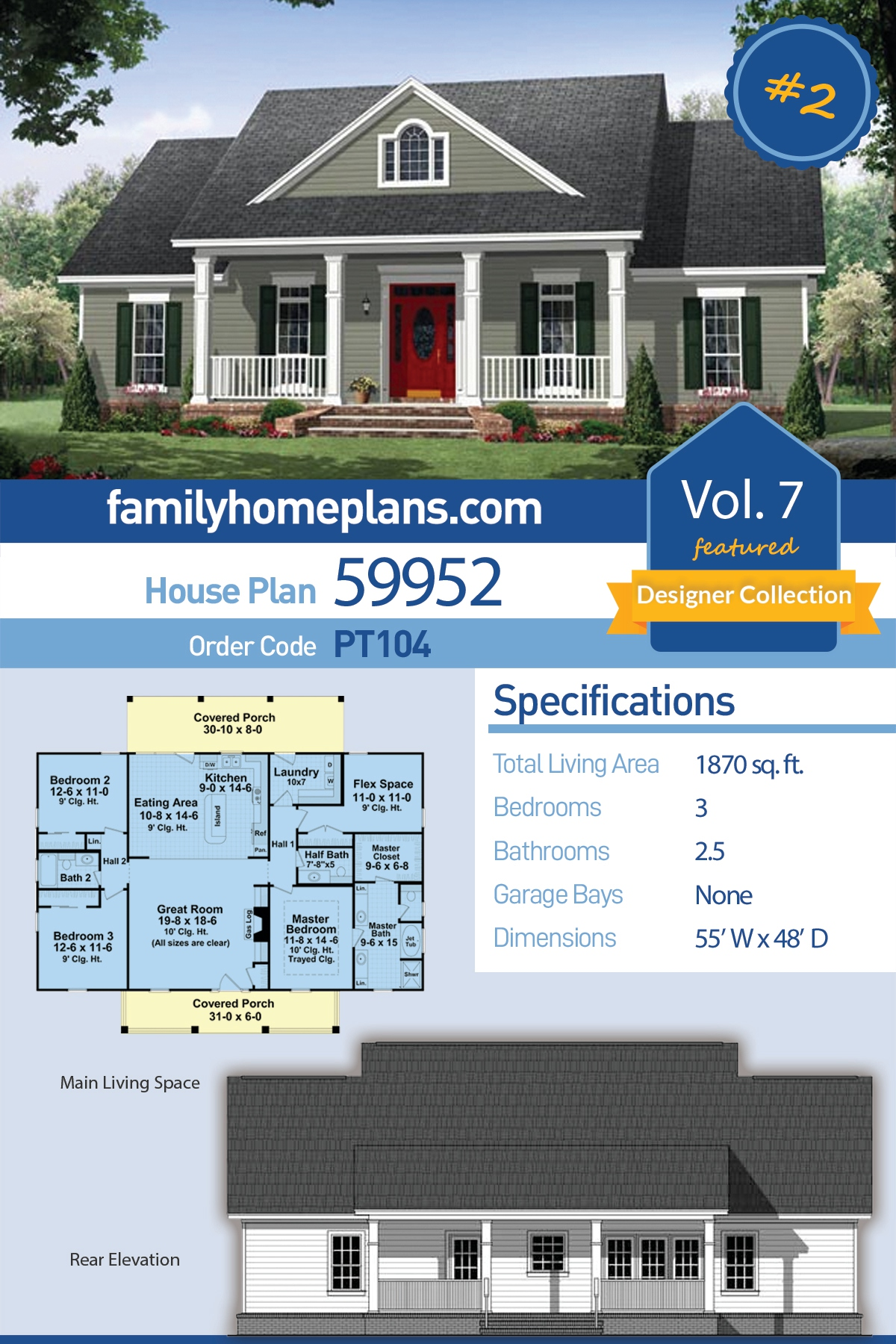 Colonial, Country, Traditional House Plan 59952 with 3 Beds , 3 Baths
