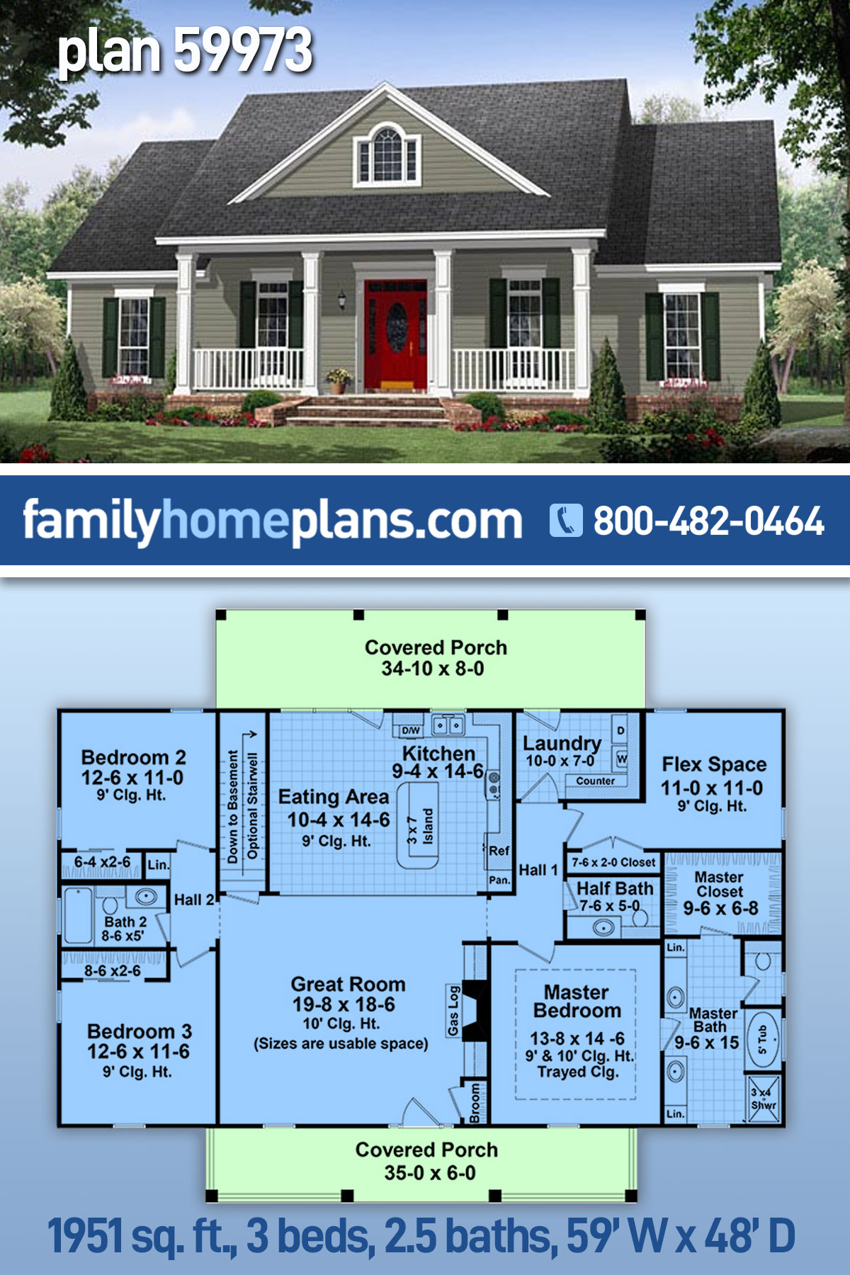 Cottage, Country, Traditional House Plan 59973 with 3 Beds, 3 Baths, 2 Car Garage
