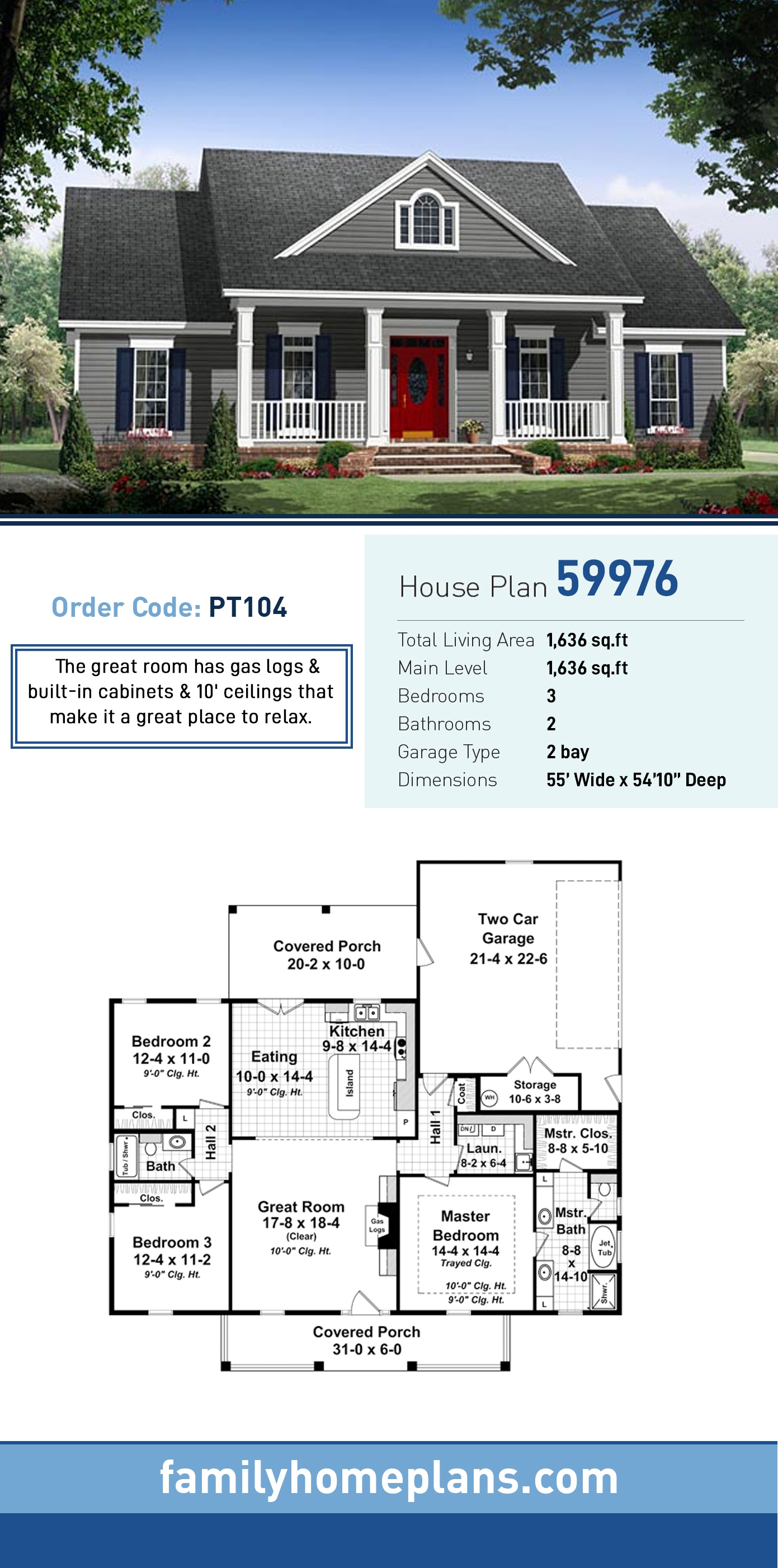 Country, Farmhouse, Traditional House Plan 59976 with 3 Beds, 2 Baths, 2 Car Garage