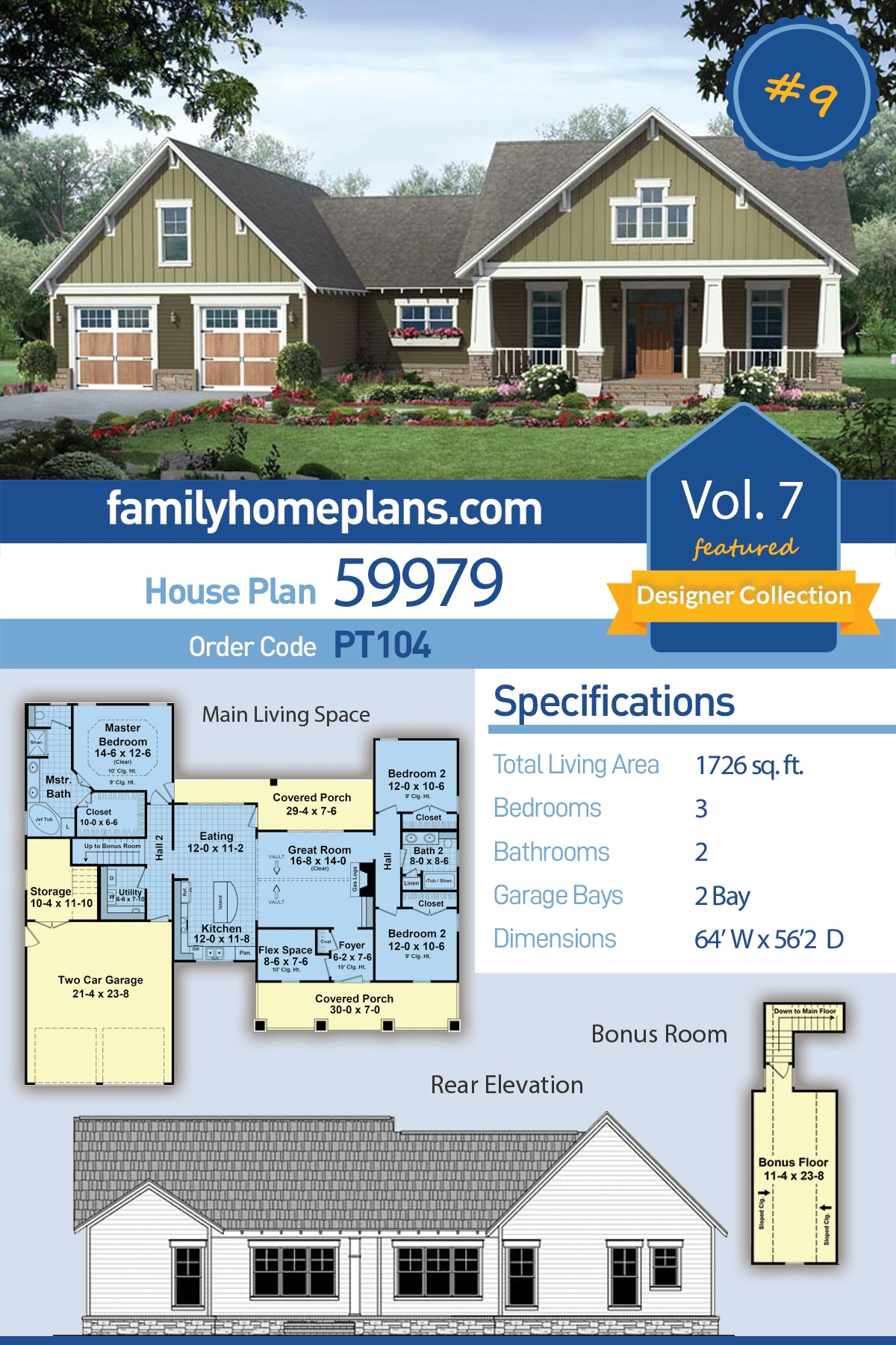Country , Craftsman , Traditional House Plan 59979 with 3 Beds, 2 Baths, 2 Car Garage