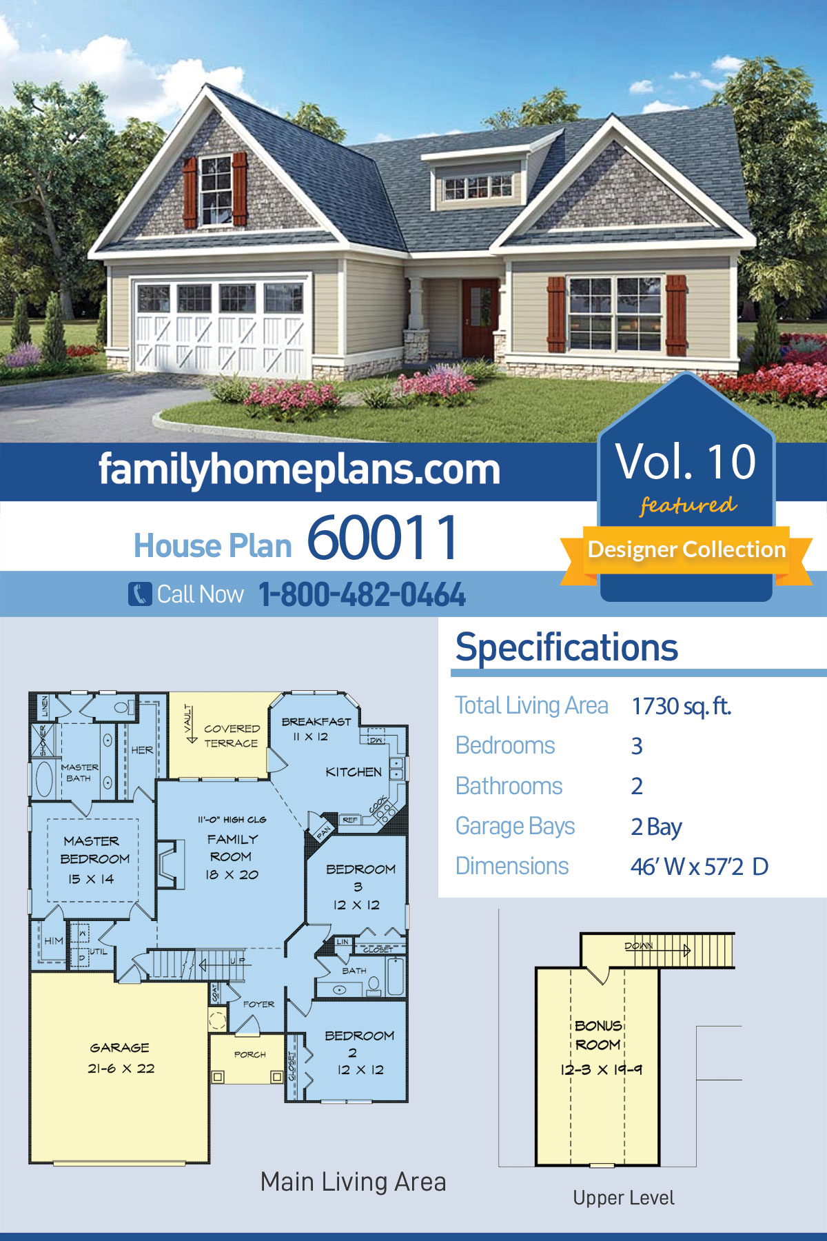 Country, Craftsman, Traditional House Plan 60011 with 3 Beds, 2 Baths, 2 Car Garage
