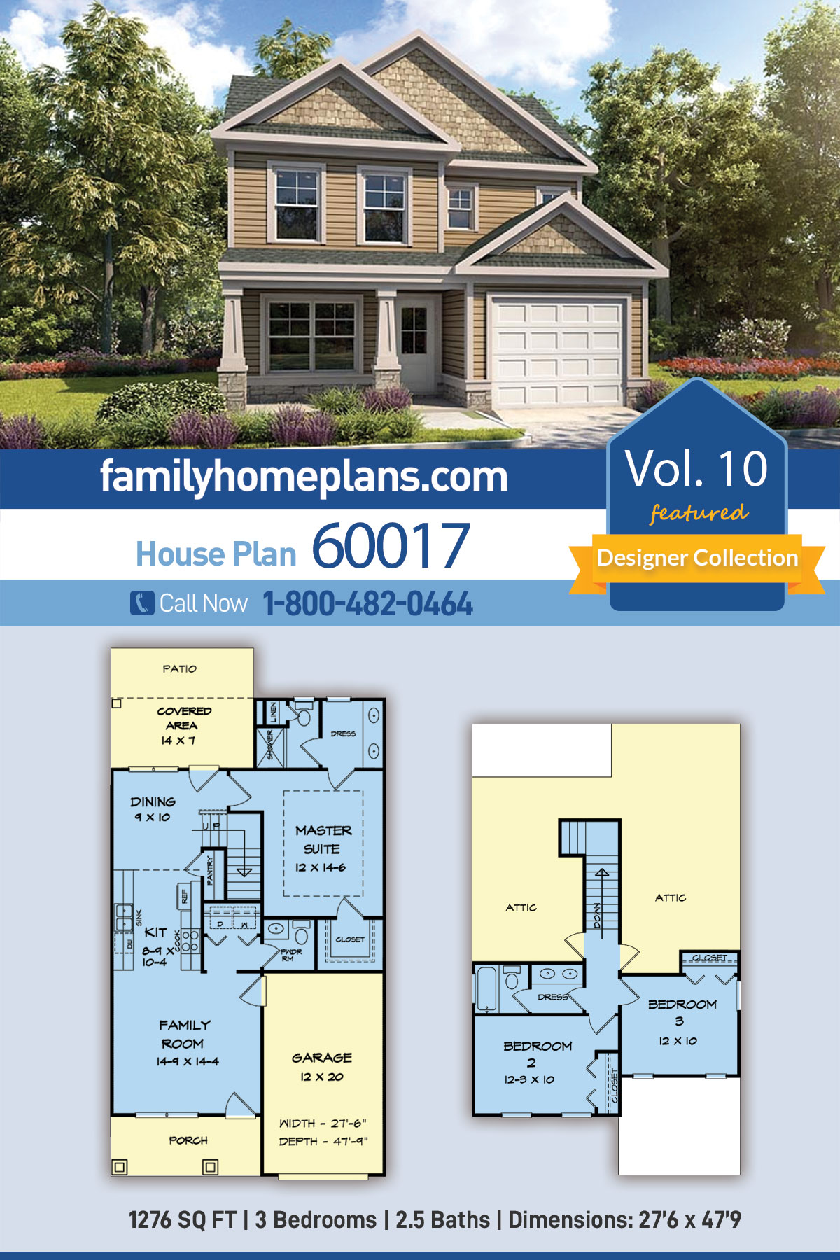 Country, Craftsman, Traditional House Plan 60017 with 3 Beds, 3 Baths, 2 Car Garage