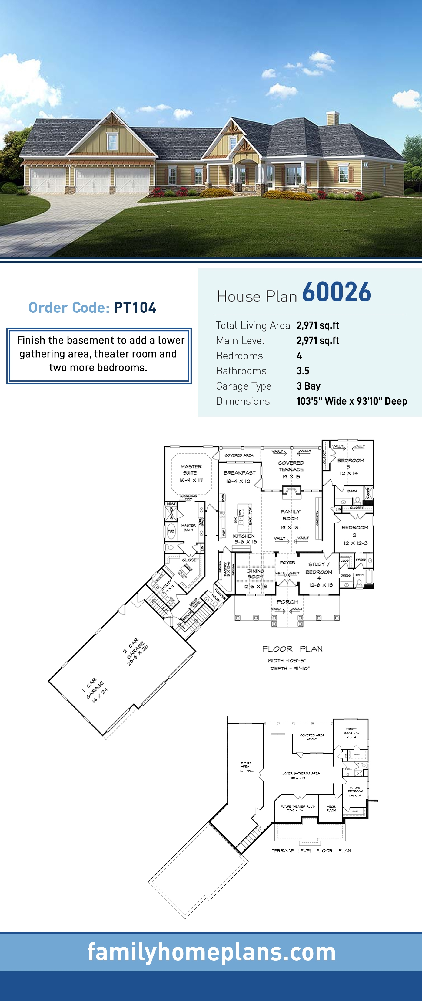 Craftsman, Traditional House Plan 60026 with 4 Beds, 4 Baths, 3 Car Garage