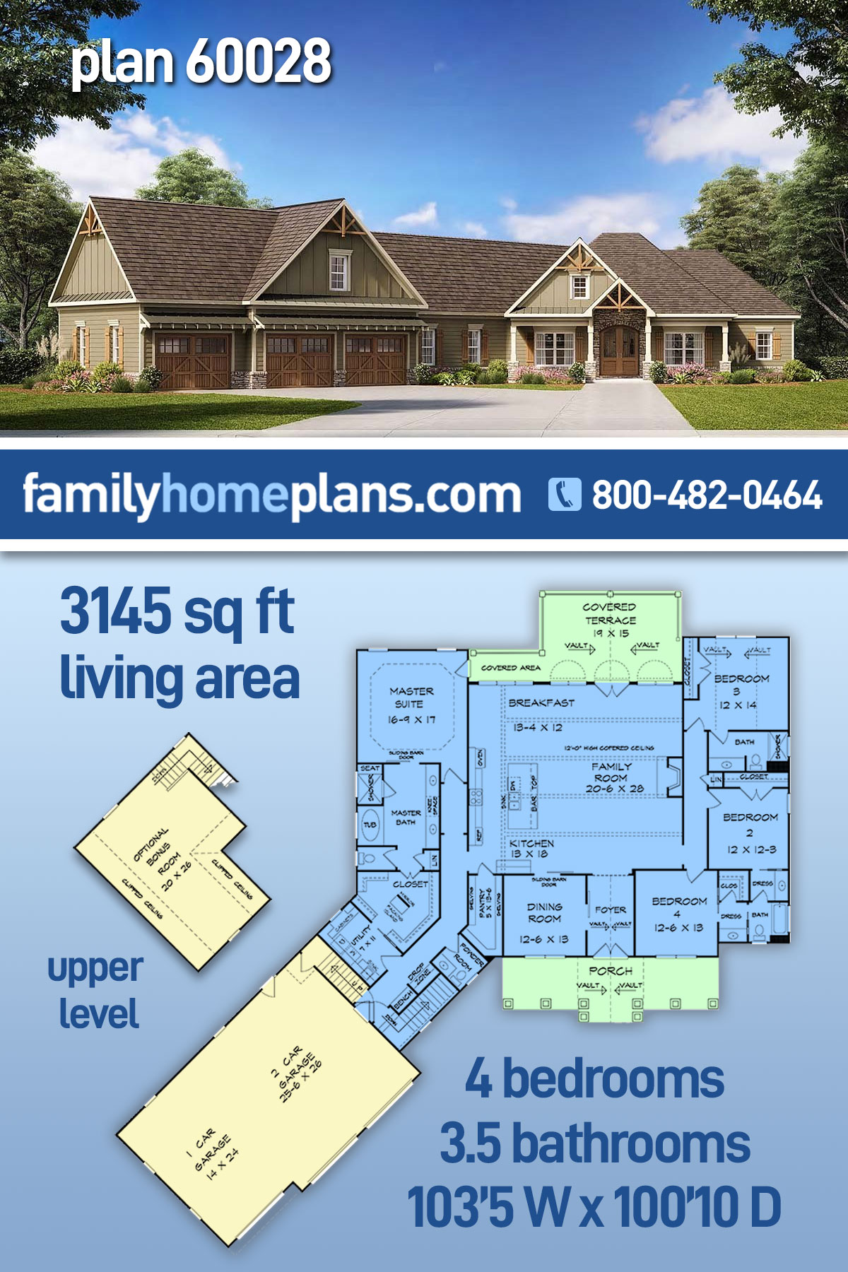 Cottage, Country, Craftsman, Traditional House Plan 60028 with 4 Beds , 4 Baths , 3 Car Garage