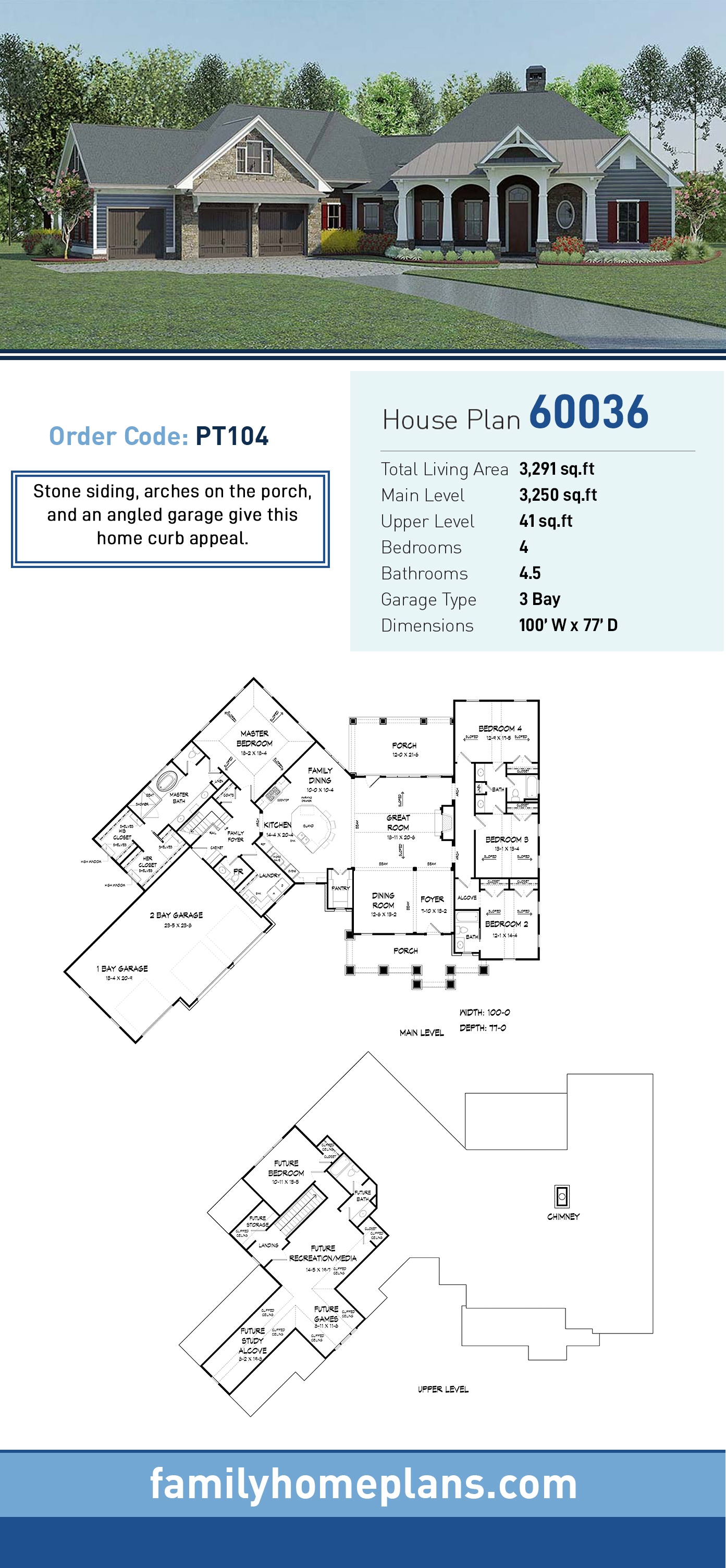 Craftsman , Traditional House Plan 60036 with 4 Beds, 5 Baths, 3 Car Garage