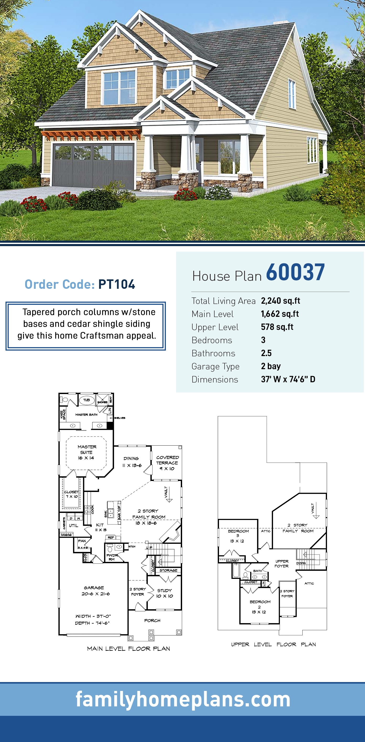 Bungalow, Cottage, Craftsman, Traditional House Plan 60037 with 3 Beds, 3 Baths, 2 Car Garage