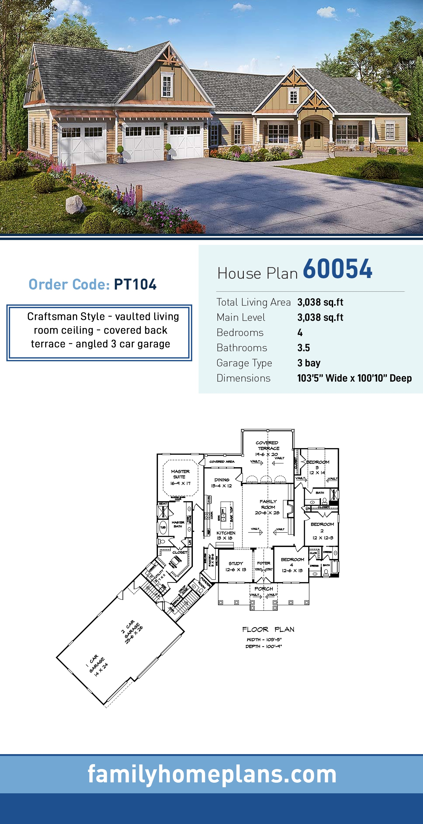 Country, Craftsman, Traditional House Plan 60054 with 4 Beds, 4 Baths, 3 Car Garage