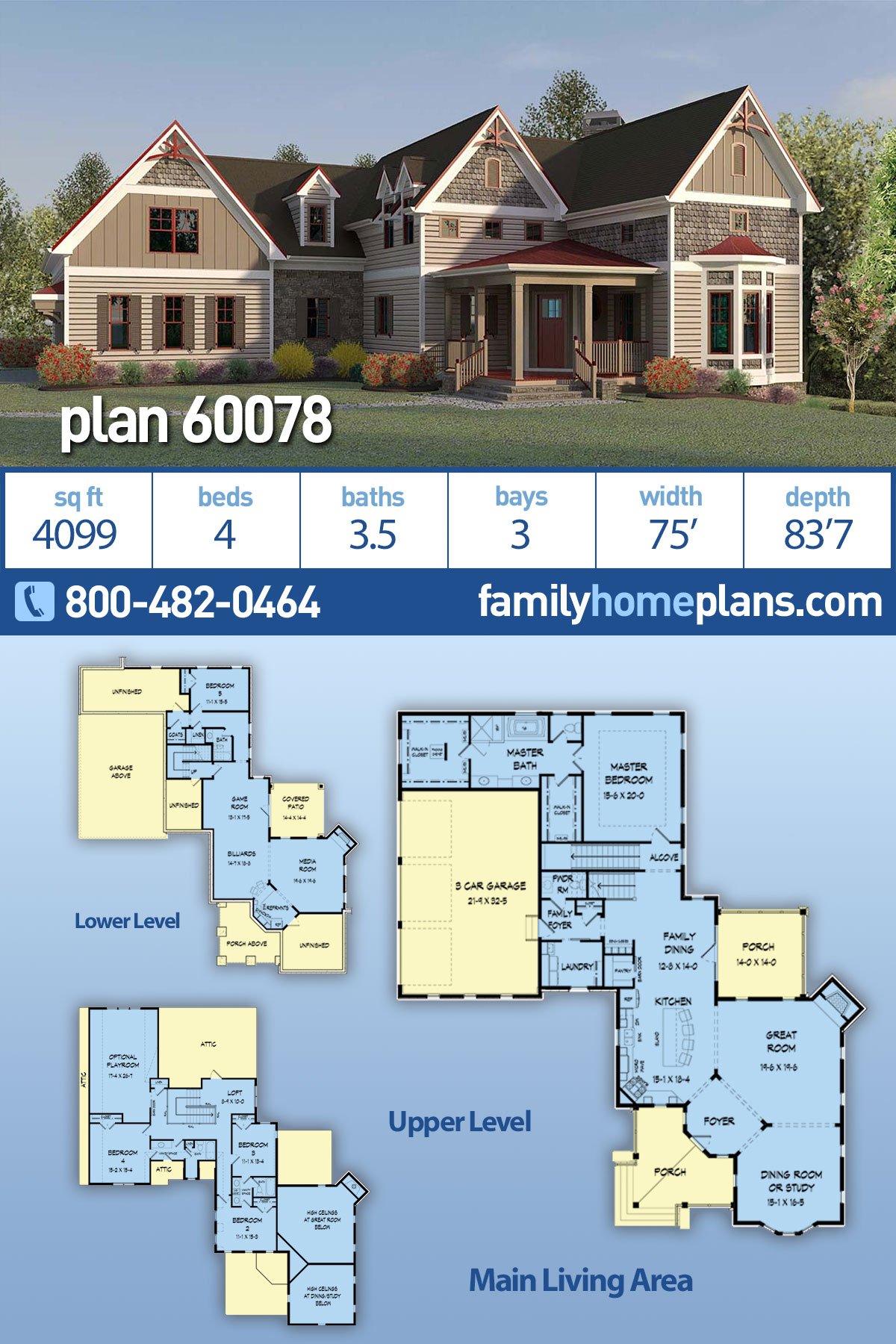 Country, Modern Farmhouse, Victorian House Plan 60078 with 4 Beds , 4 Baths , 3 Car Garage