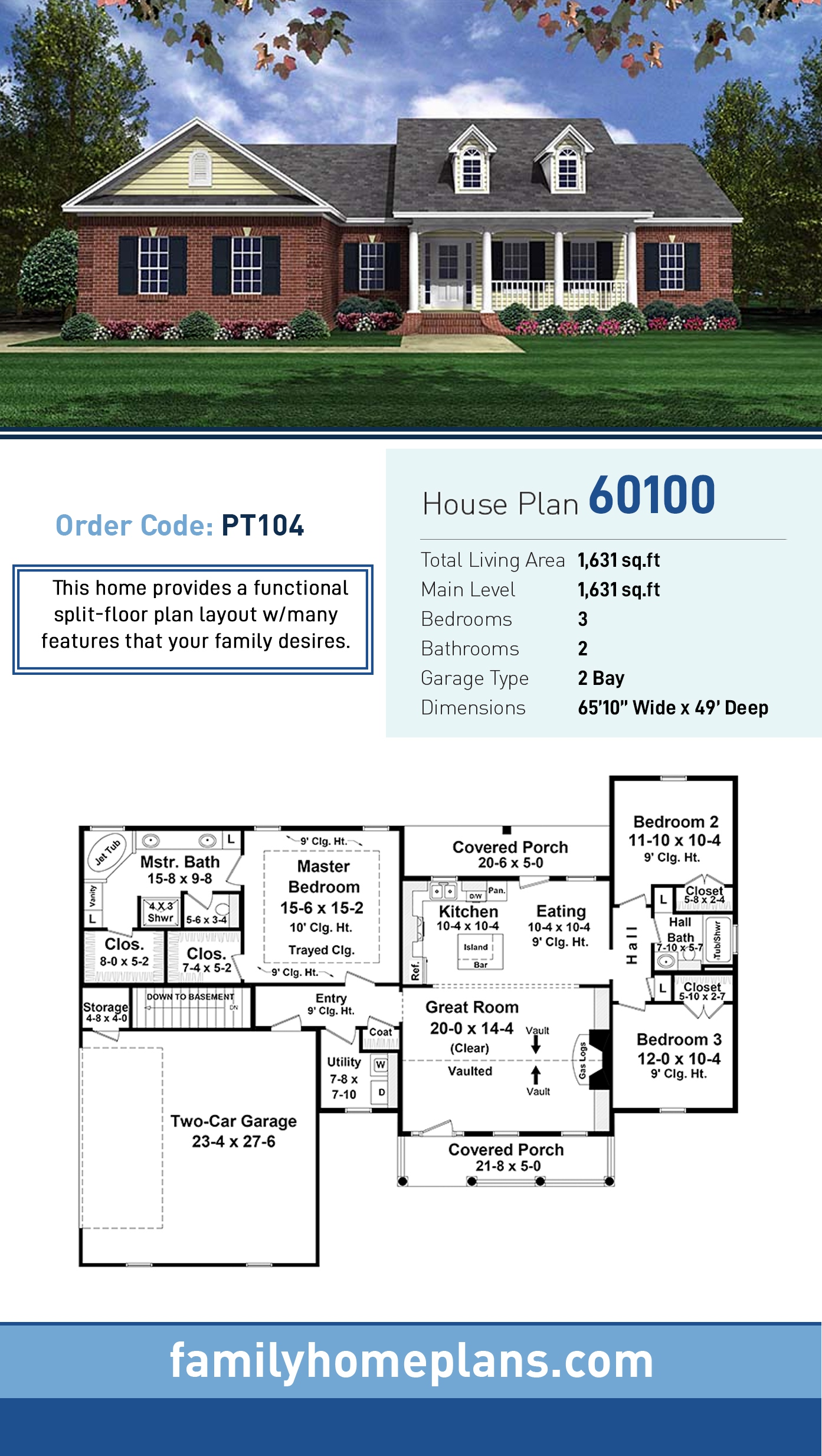 Country, Craftsman House Plan 60100 with 3 Beds, 2 Baths, 2 Car Garage