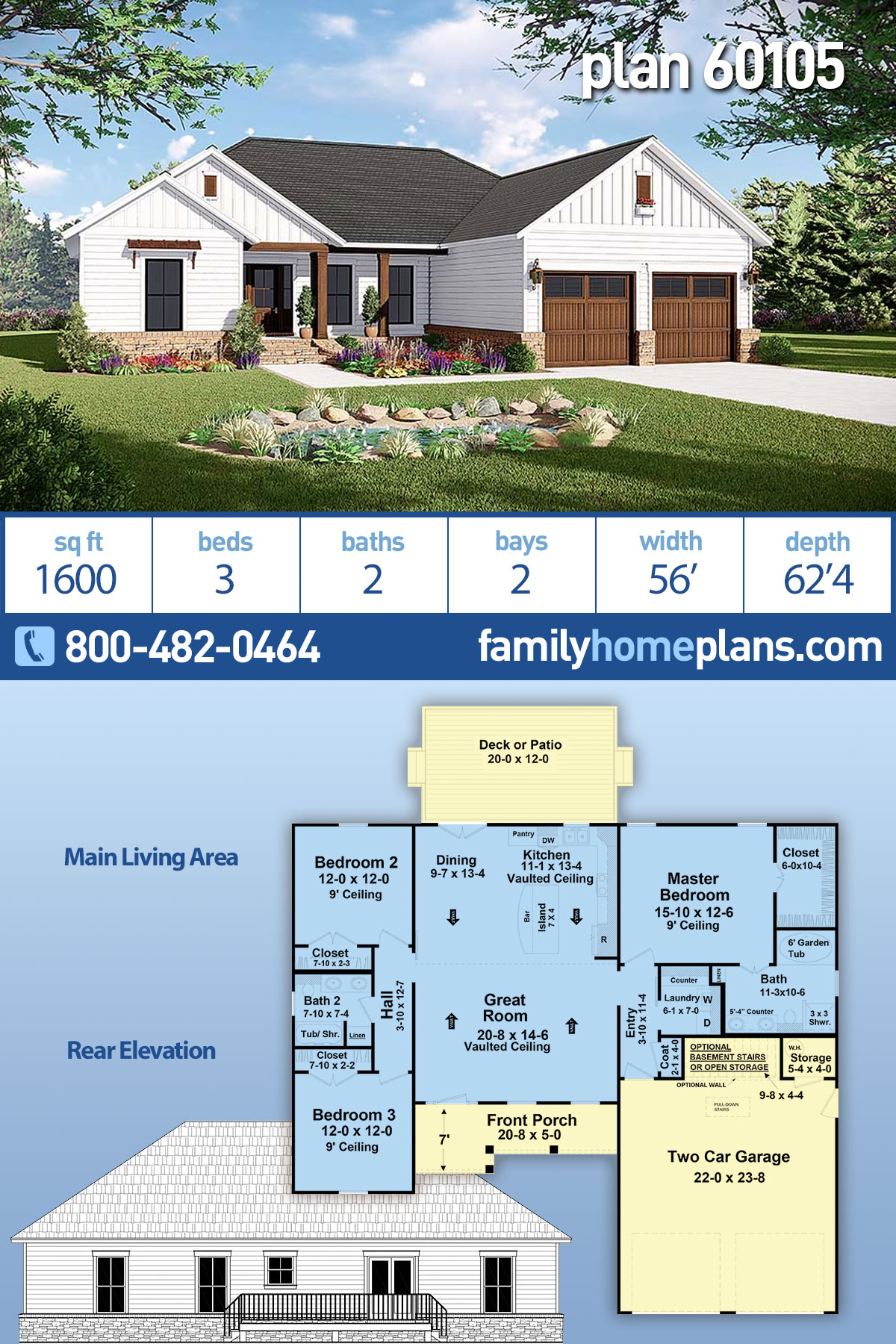 Country, Modern Farmhouse, Ranch, Traditional House Plan 60105 with 3 Beds , 2 Baths , 2 Car Garage