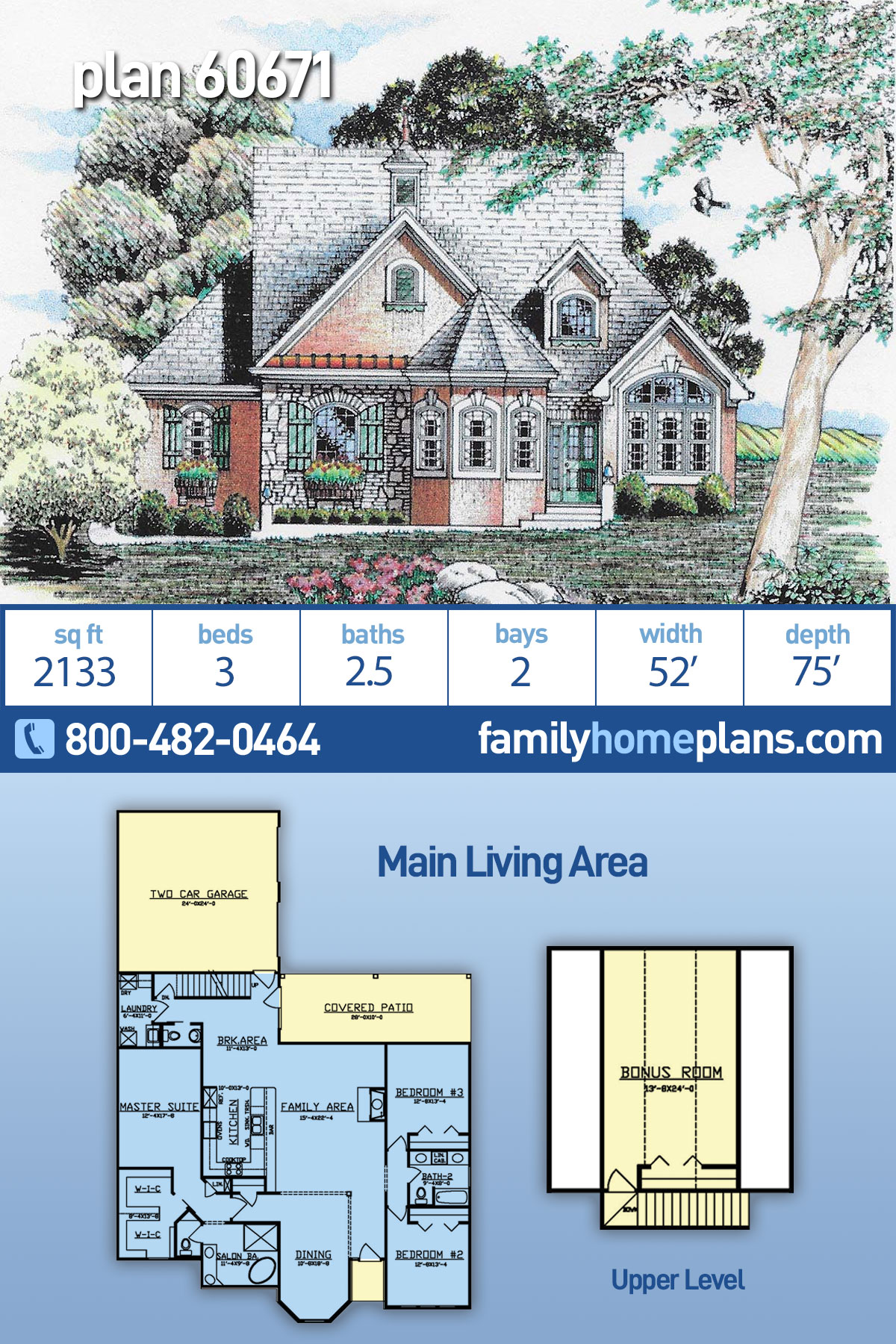 Traditional House Plan 60671 with 3 Beds, 3 Baths, 2 Car Garage
