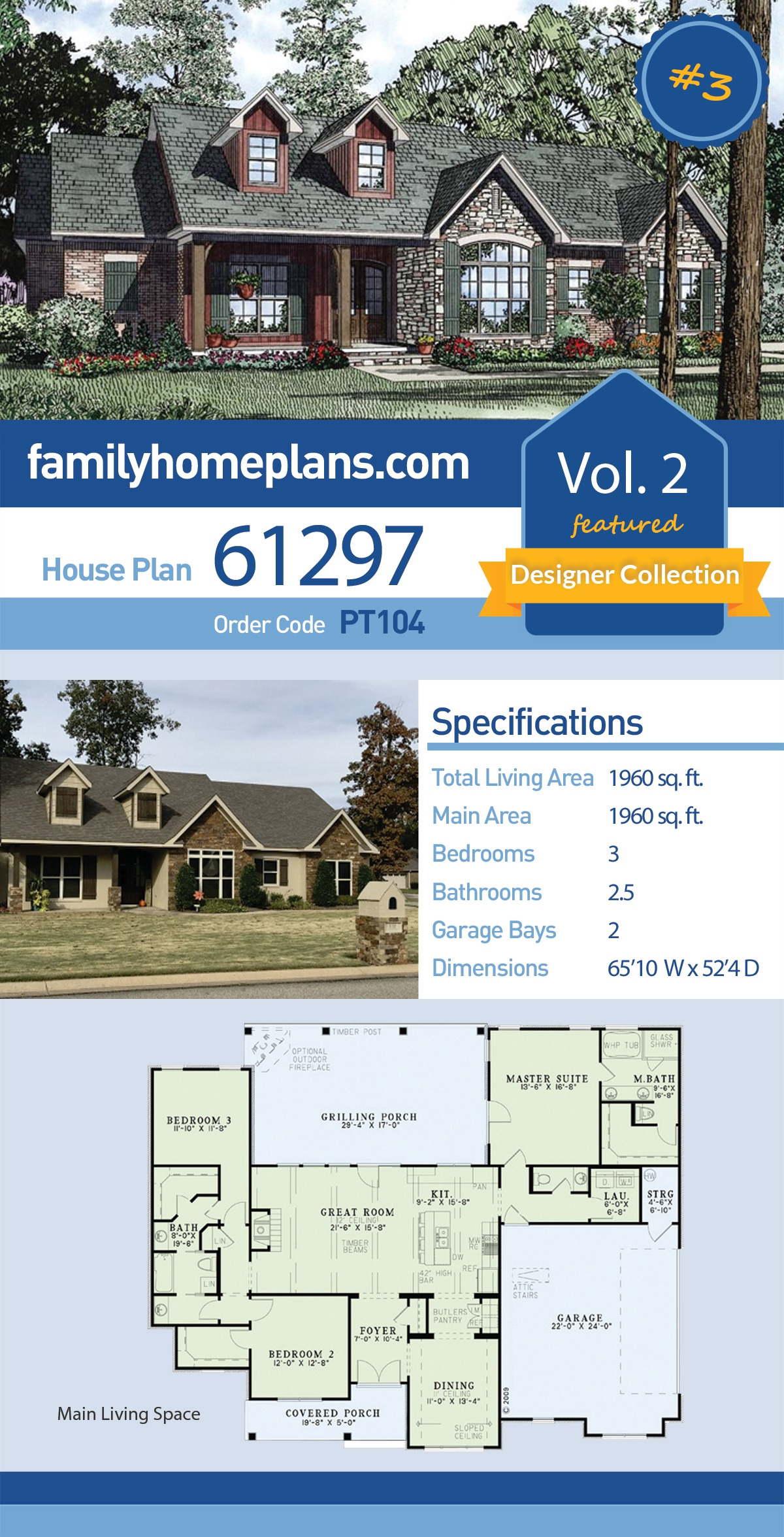 Country , Craftsman , Ranch , Traditional House Plan 61297 with 3 Beds, 3 Baths, 2 Car Garage