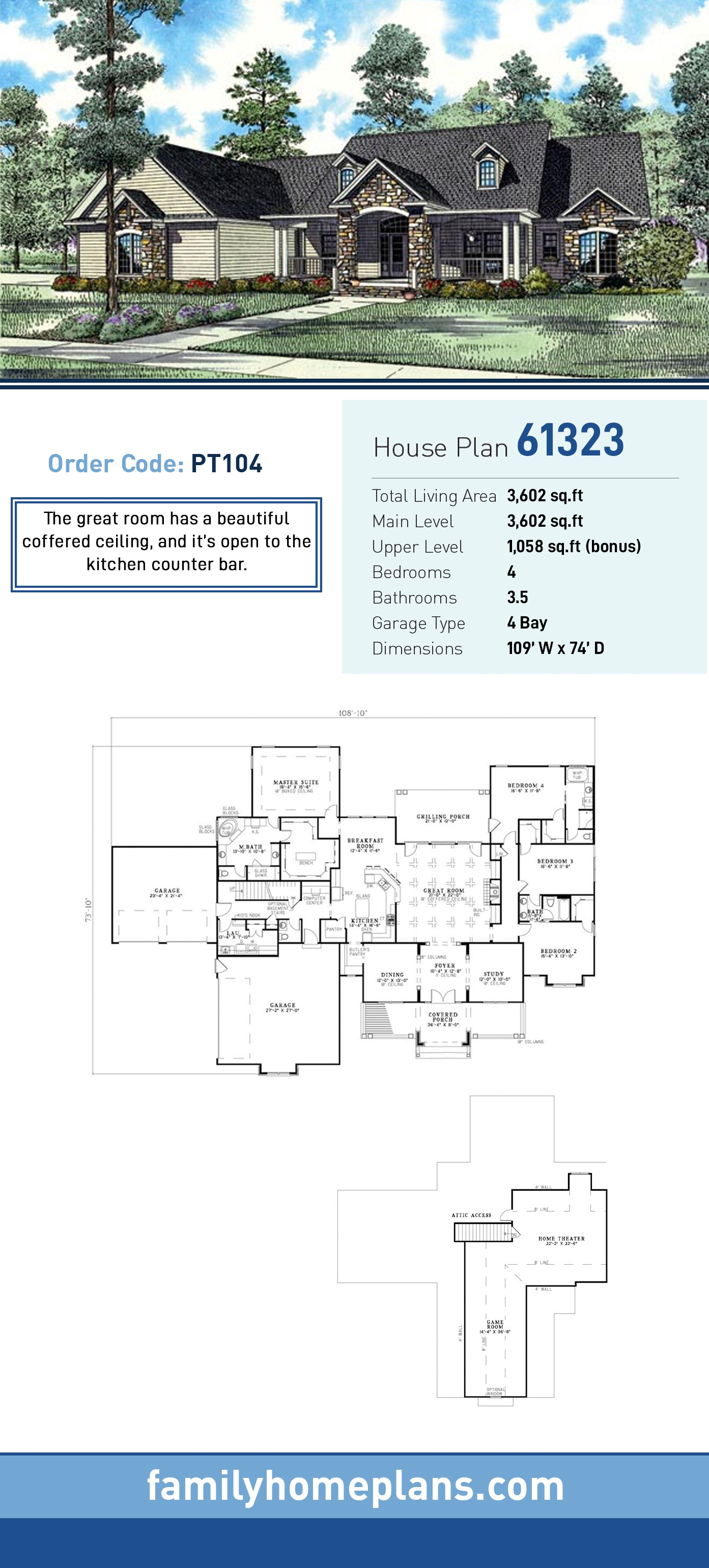 Country, Craftsman, Traditional House Plan 61323 with 4 Beds , 4 Baths , 4 Car Garage