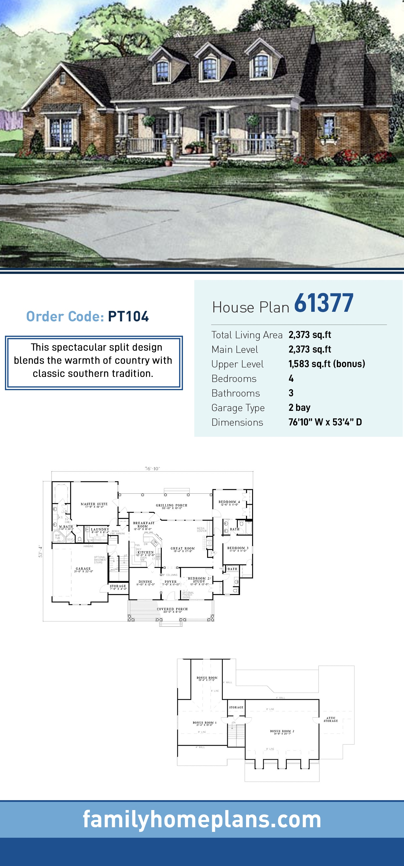 Country, Southern House Plan 61377 with 4 Beds , 3 Baths , 2 Car Garage